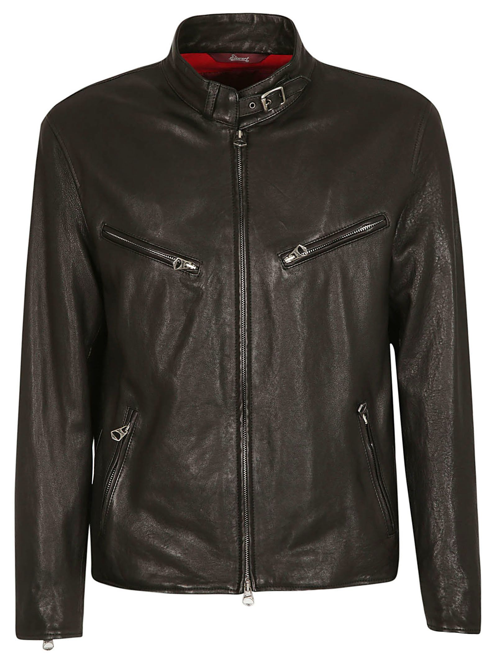 STEWART Buckled Classic Bomber in Black