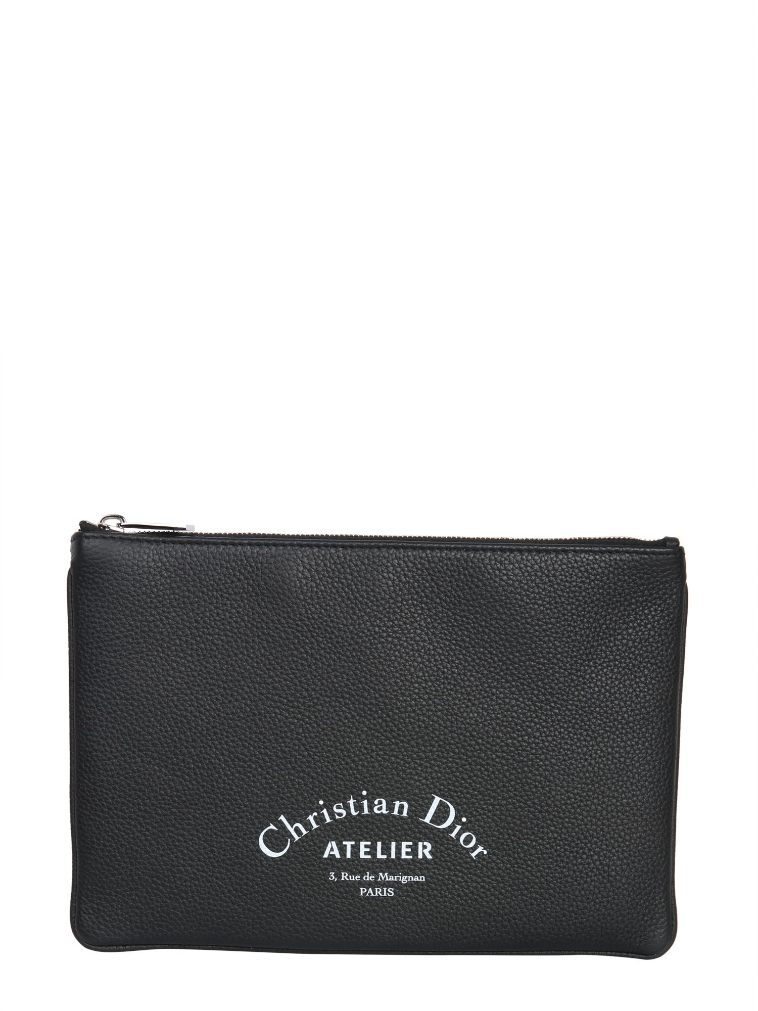 DIOR HOMME Small Leather Clutch, Nero