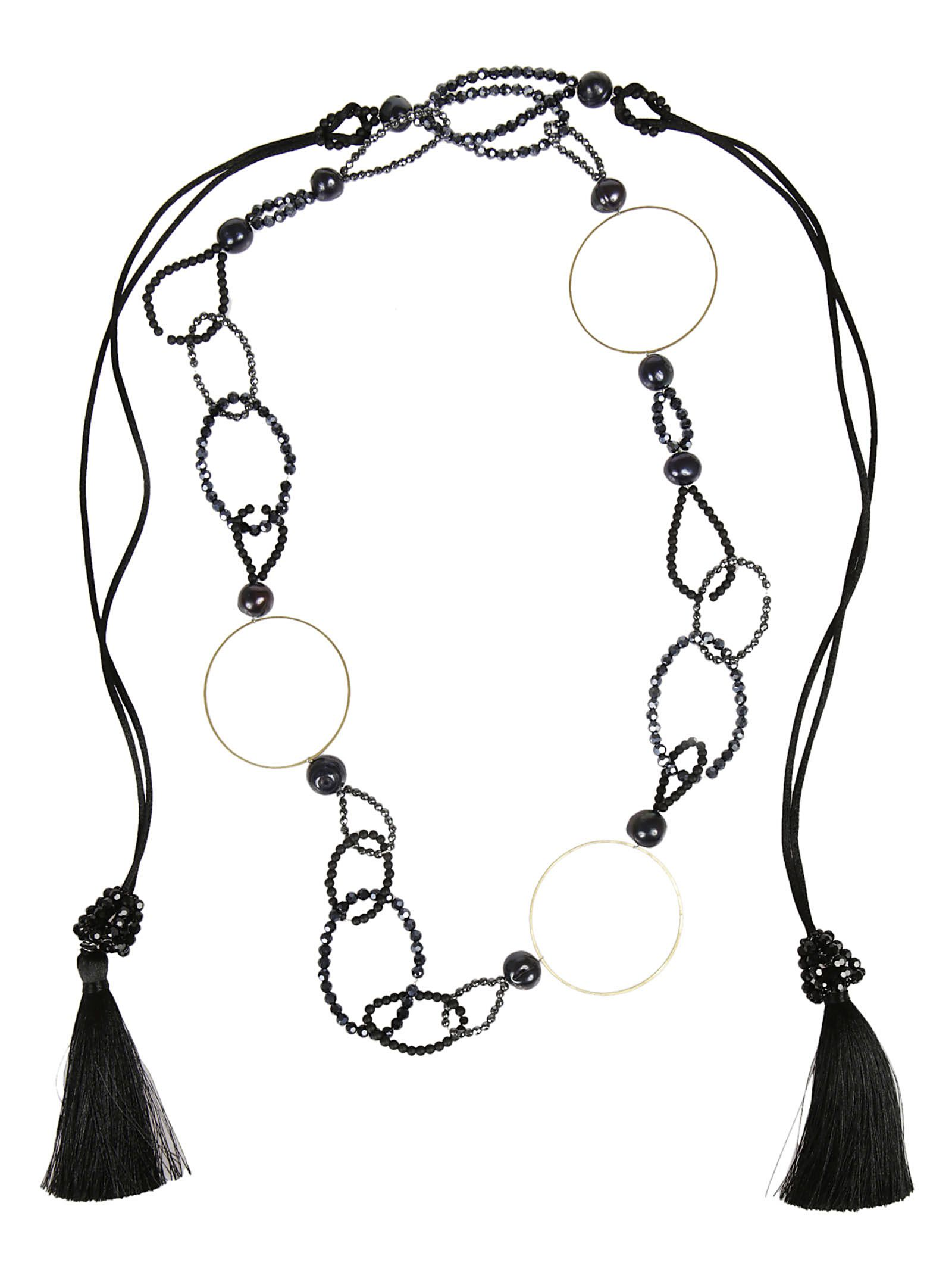 bead and ring long necklace - Black Night Market