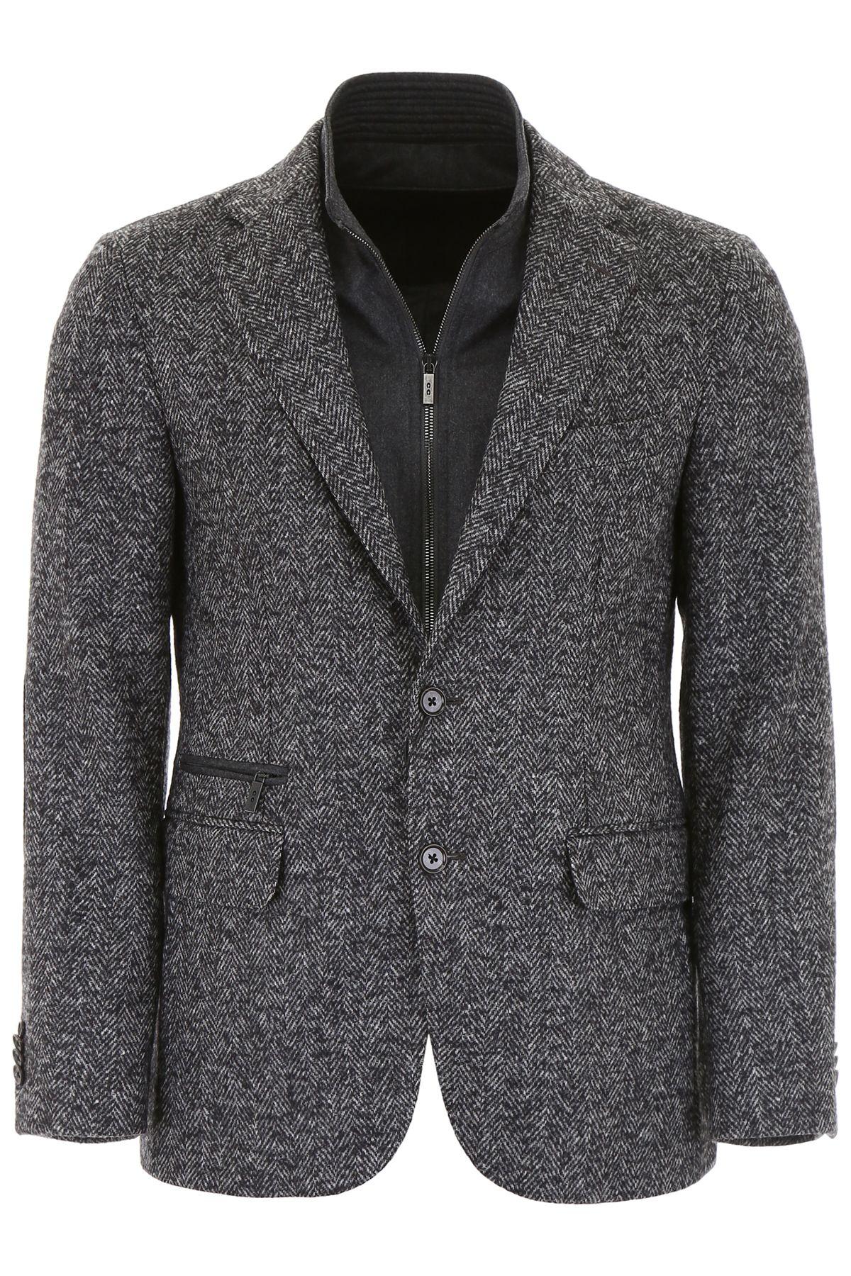 CC COLLECTION CORNELIANI Herringbone Blazer With Plastron in Grey Black