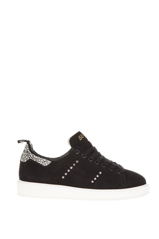 Black Starter Sneaker In Leather, Black/Crystal