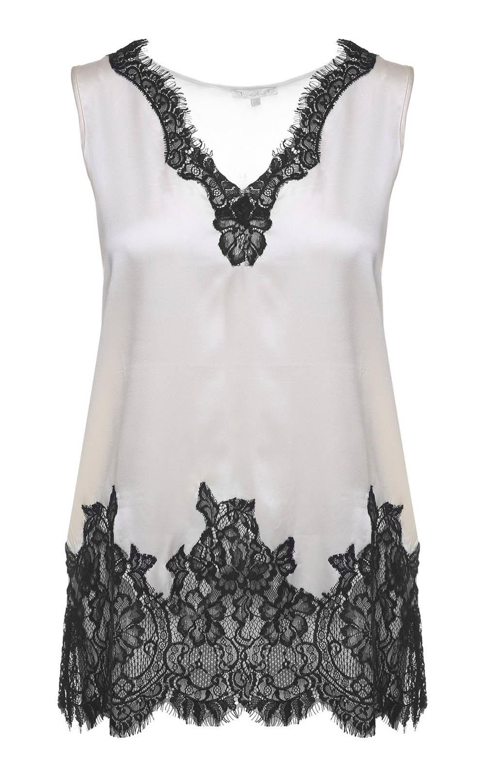 Gold Hawk Lace-trimmed Silk-satin Top