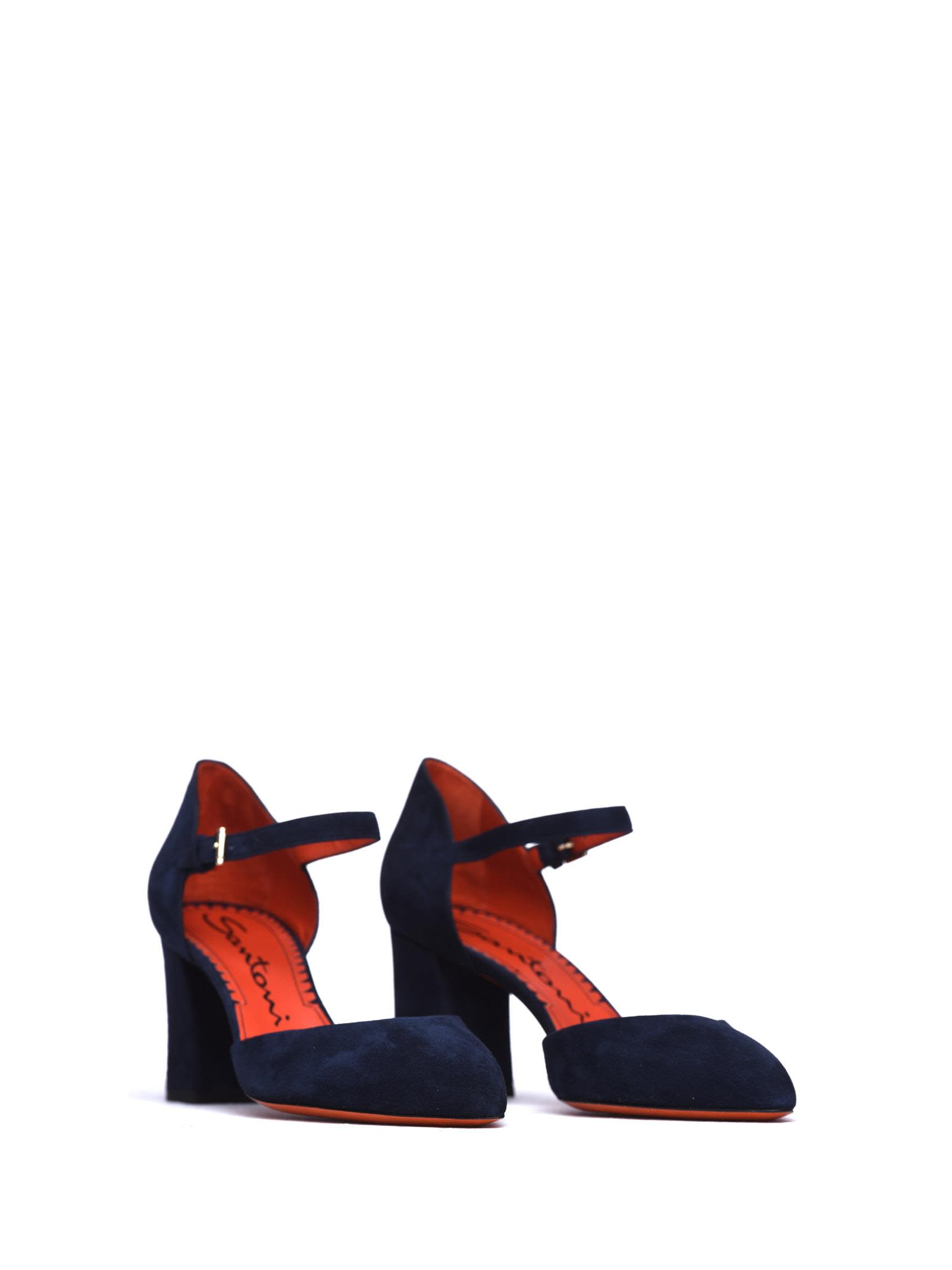 santoni Prima Linea Sandals In Blue Suede Affordable Is5N3Blfyf