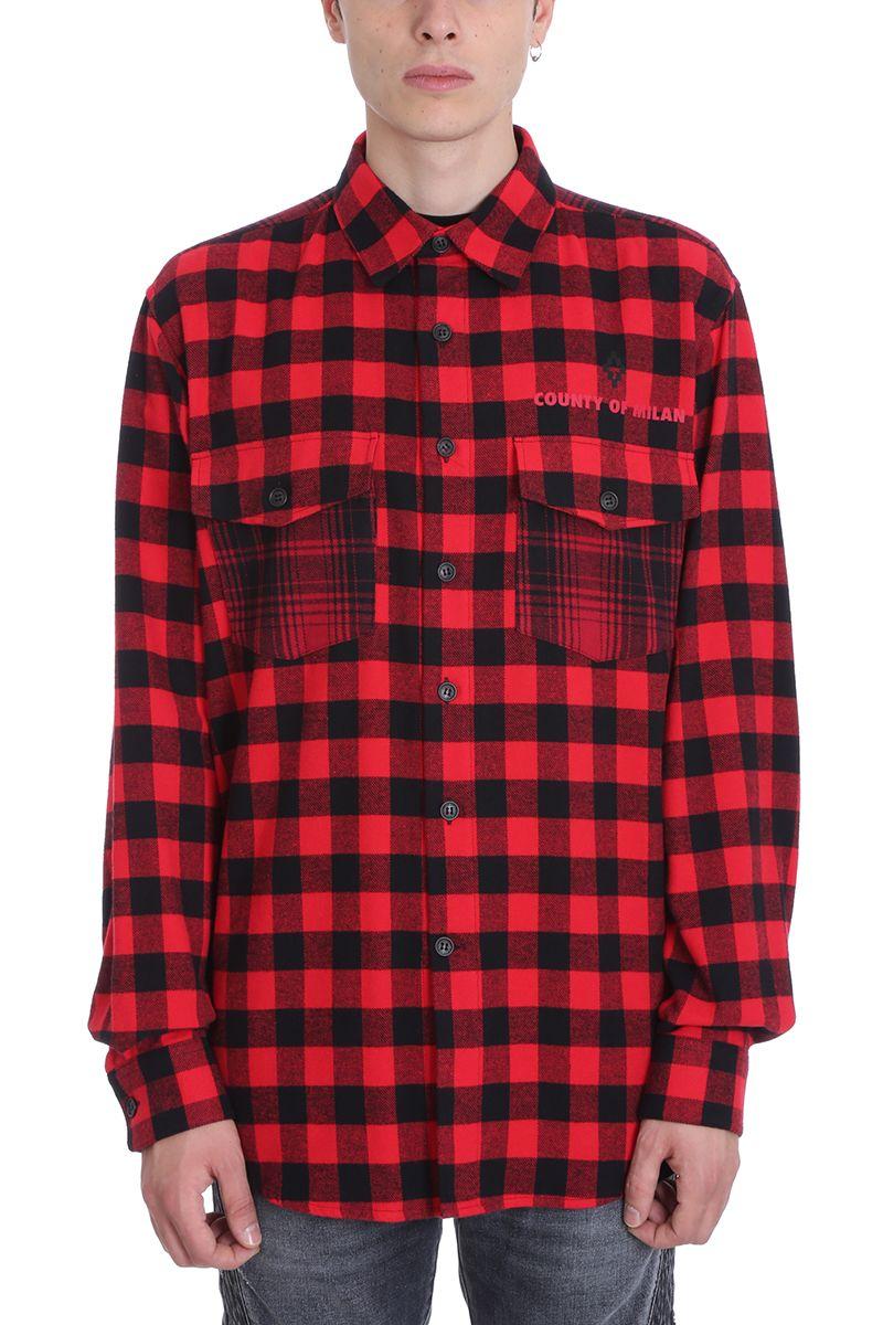 Marcelo Burlon Black/red Wool Shirt