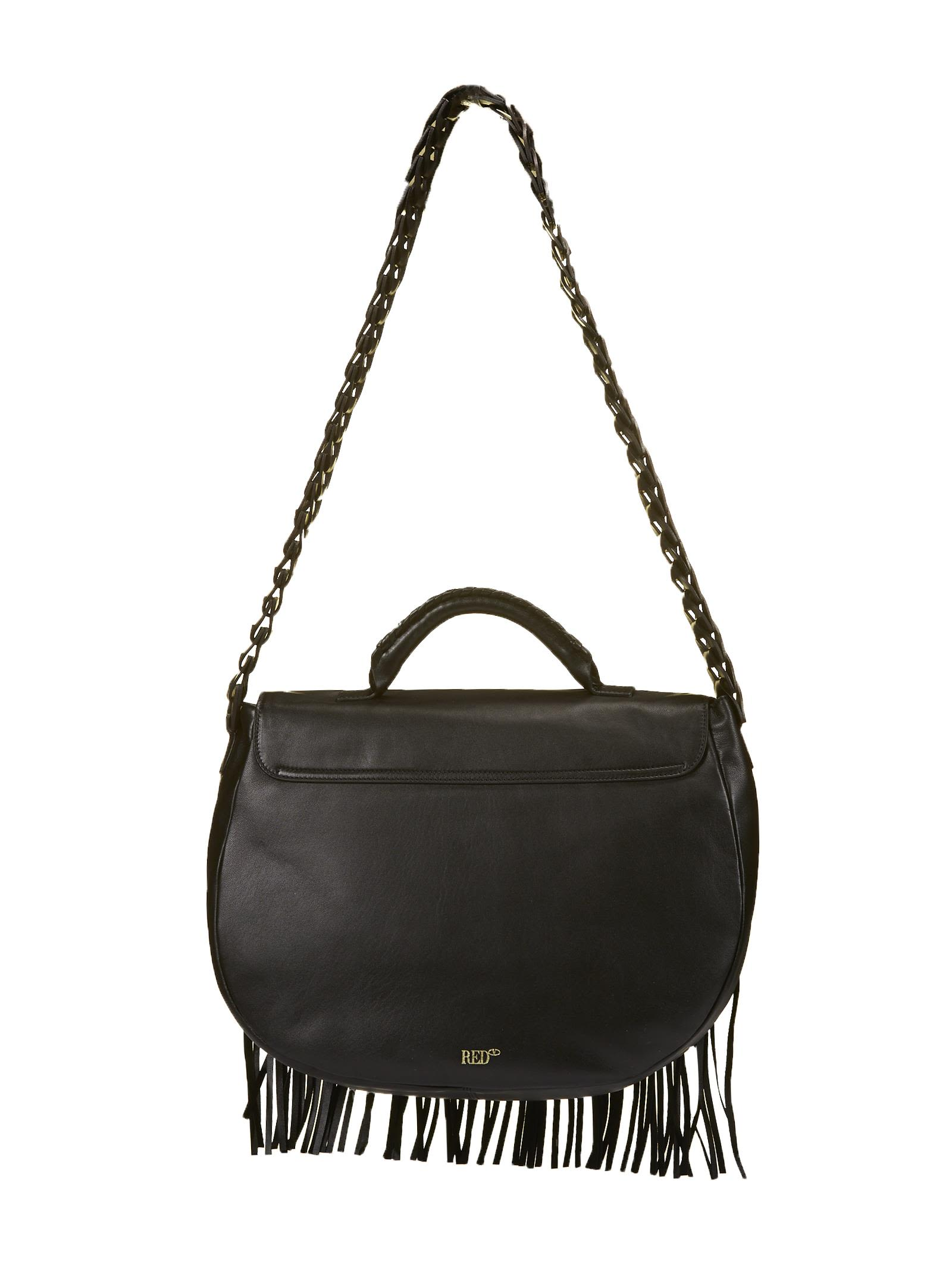 Black fringed leather bag Red Valentino