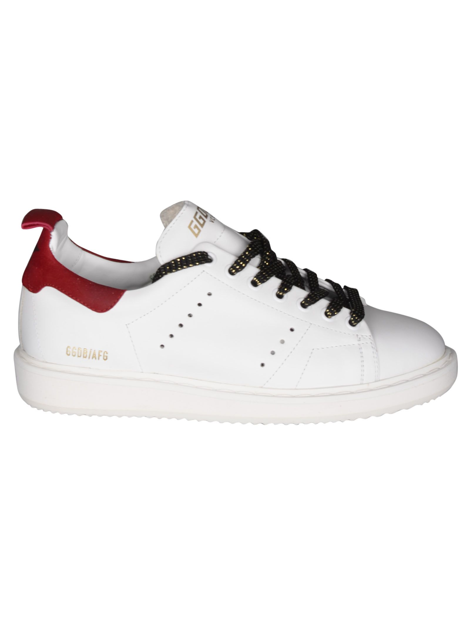 Starter Sneakers, White Leather Red Suede