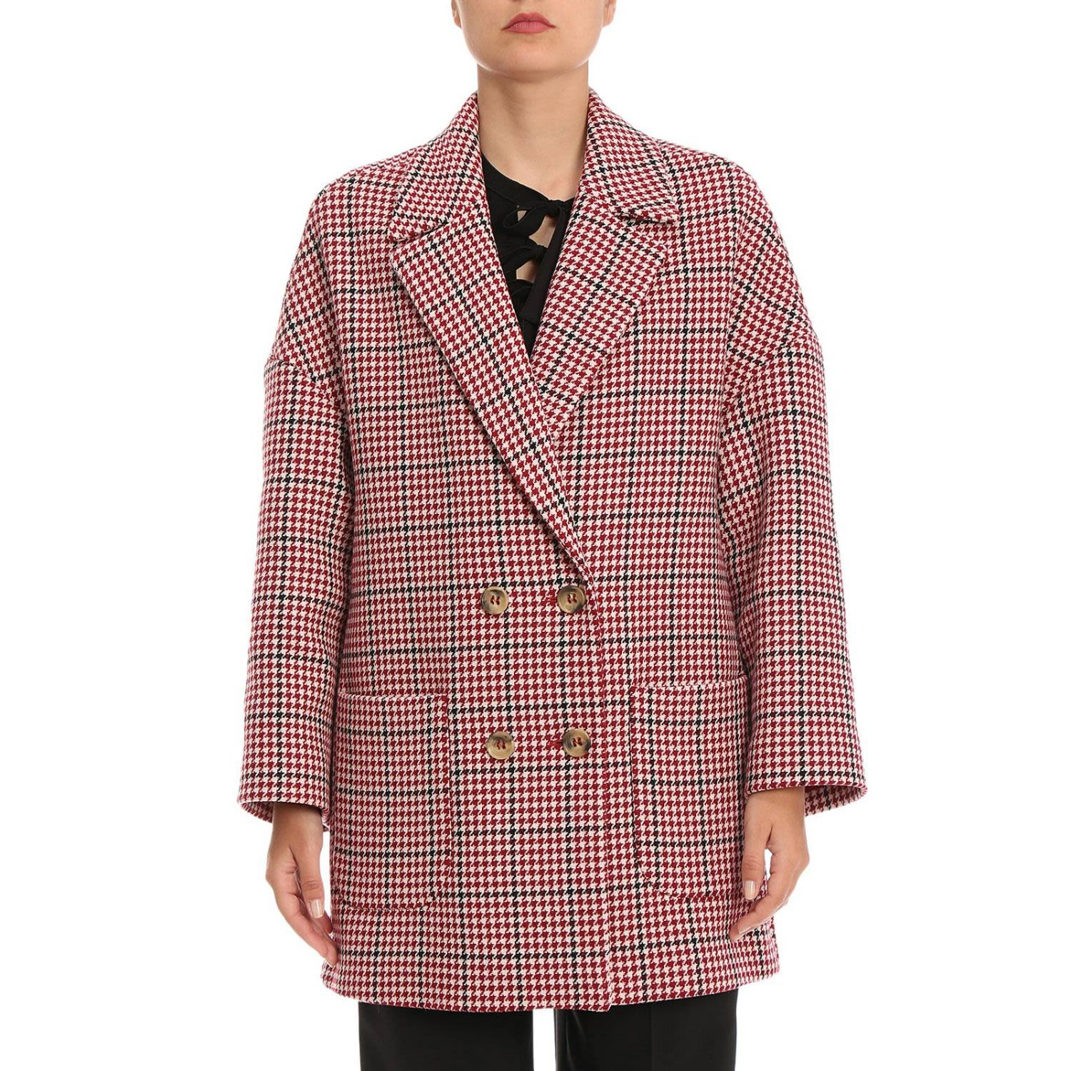 Oversized Houndstooth Coat in Red