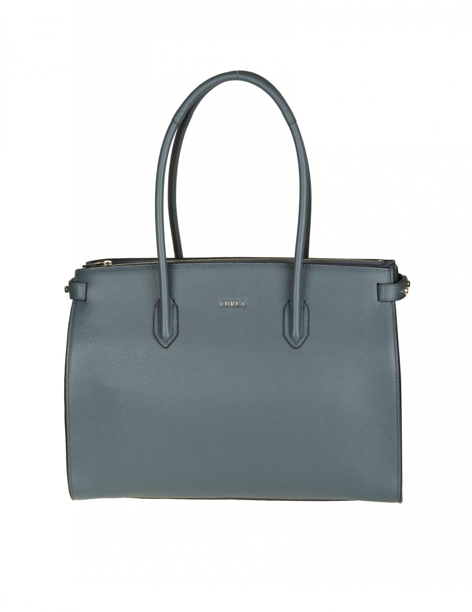 """Furla Leathers """"PIN M"""" SHOPPING IN BLUE LEATHER"""