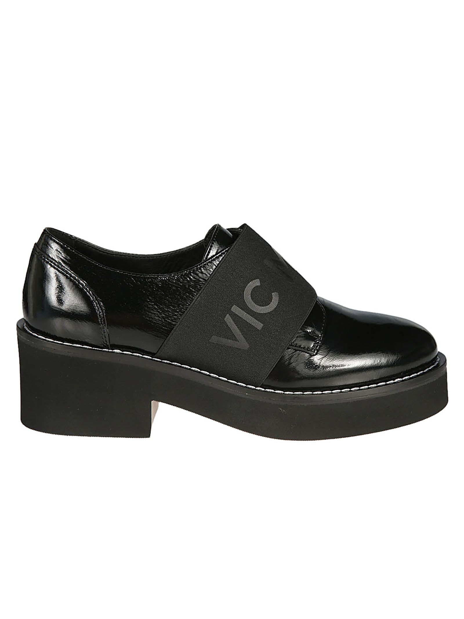 VIC MATIE Vic Matie' Logo Band Wedge Loafers in Vernice Nero