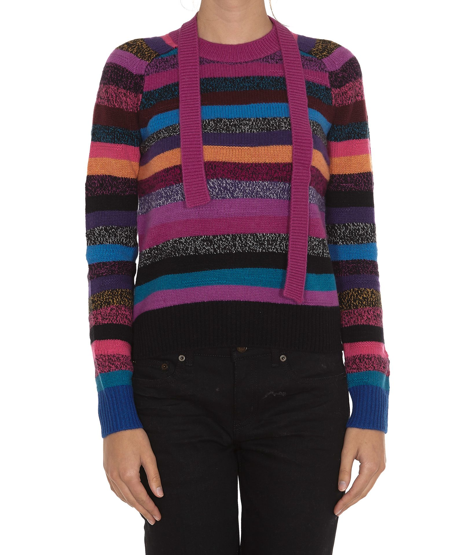 Crewneck Long-Sleeve Multicolor Striped Cashmere Sweater in Pink from MARC JACOBS