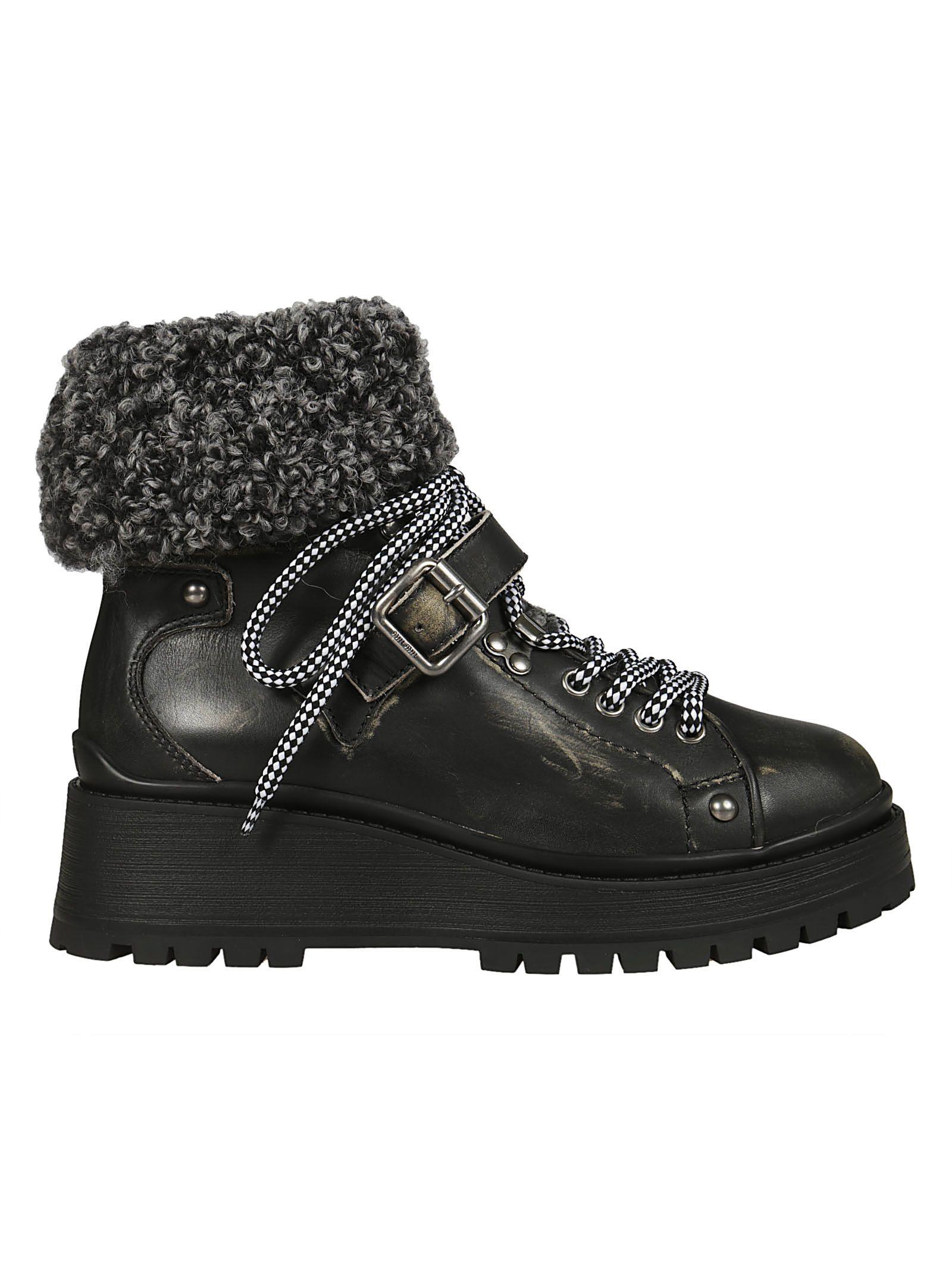 miu miu -  Fur Detail Boots