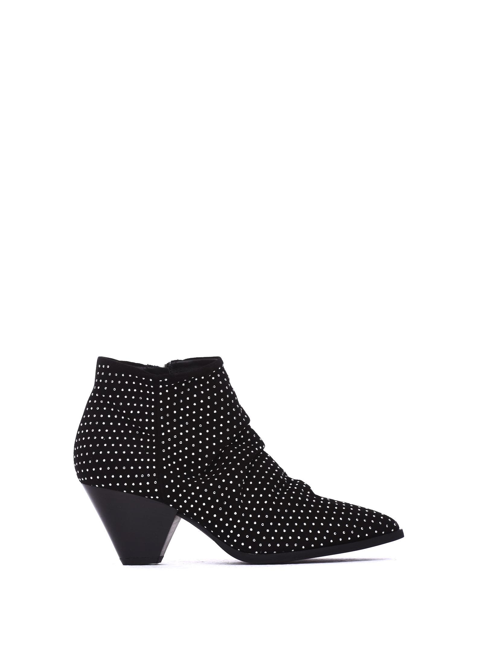 JANET&JANET Mia Black Ankle Boots in Nero