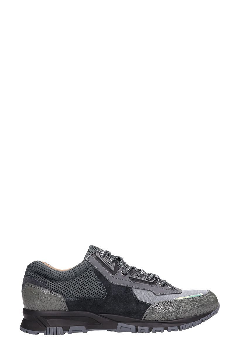 Lanvin Grey Suede And Fabric Sneakers