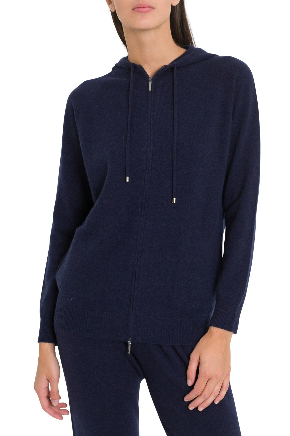 Canapa Cashmere Hoodie With Full Lenght Zip in Blu