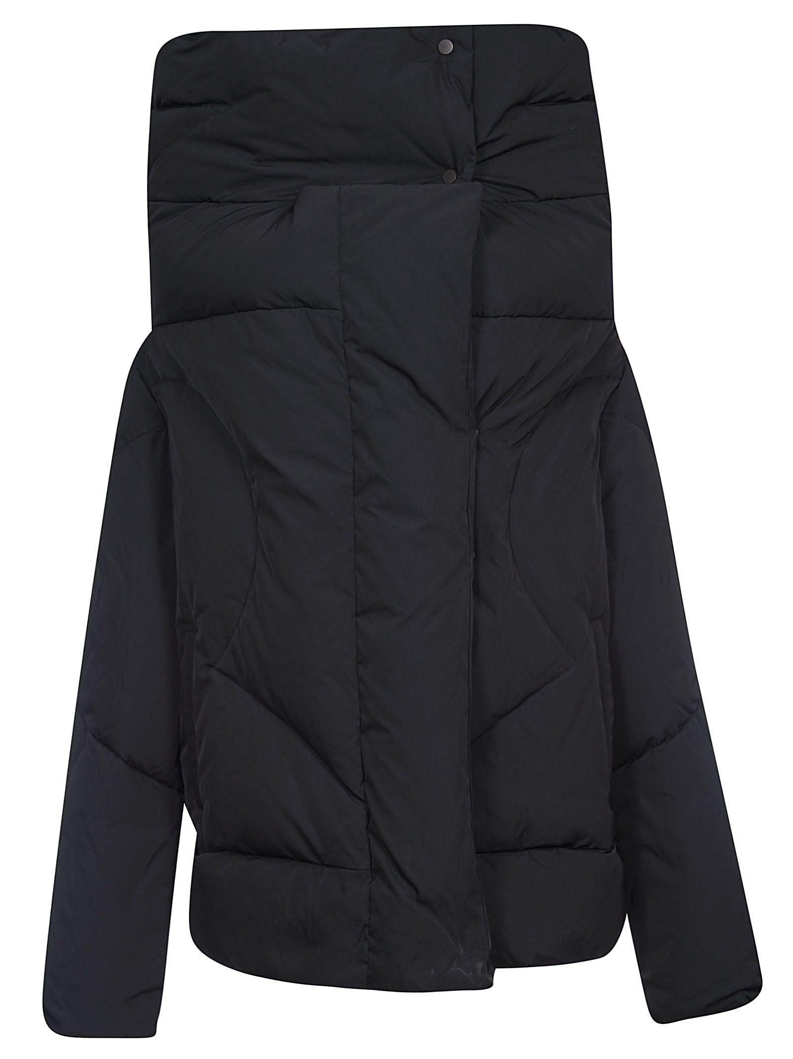 AHIRAIN High Collar Padded Jacket in Black