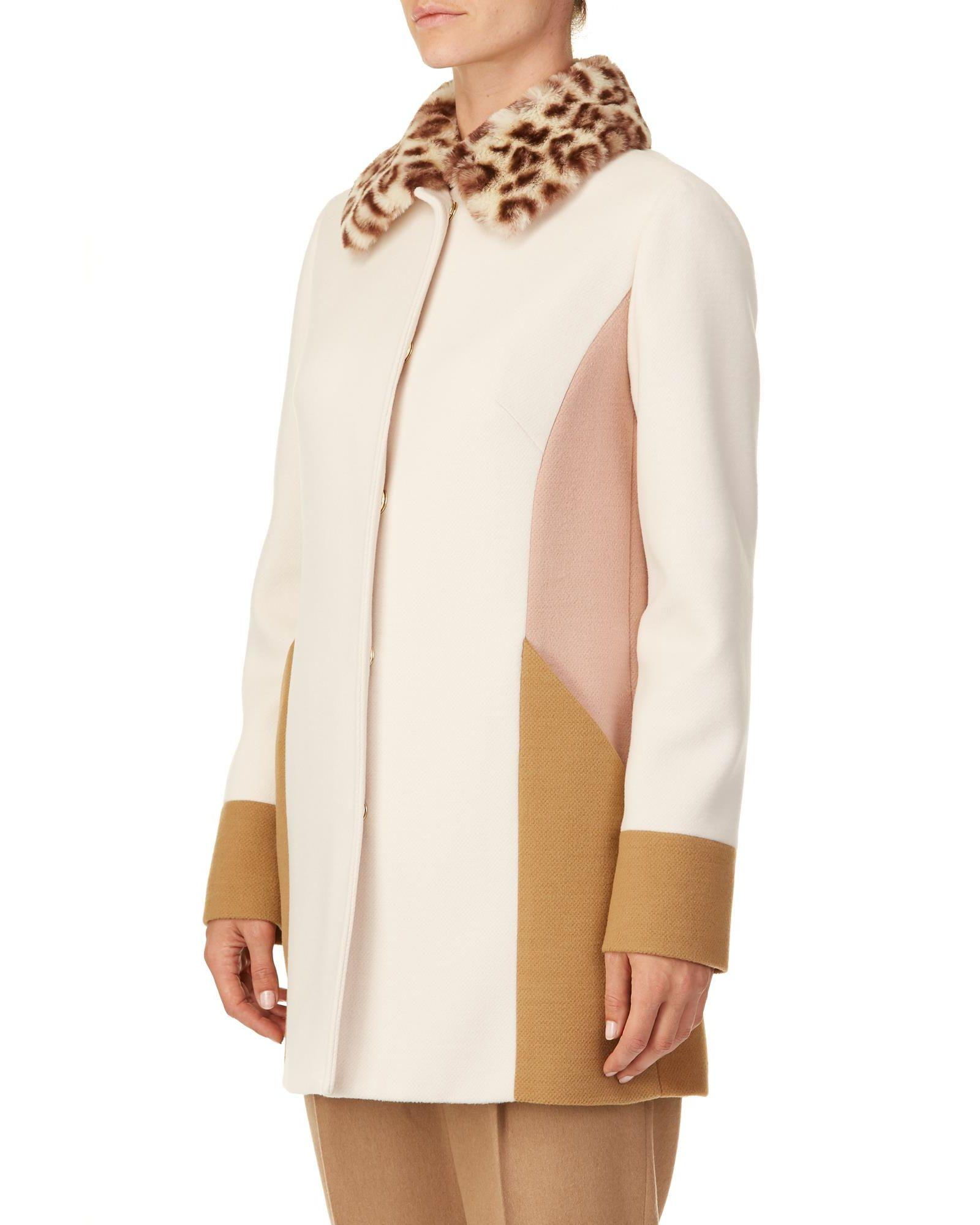 TRUSSARDI Faux Fur Collar Coat in Multicolour