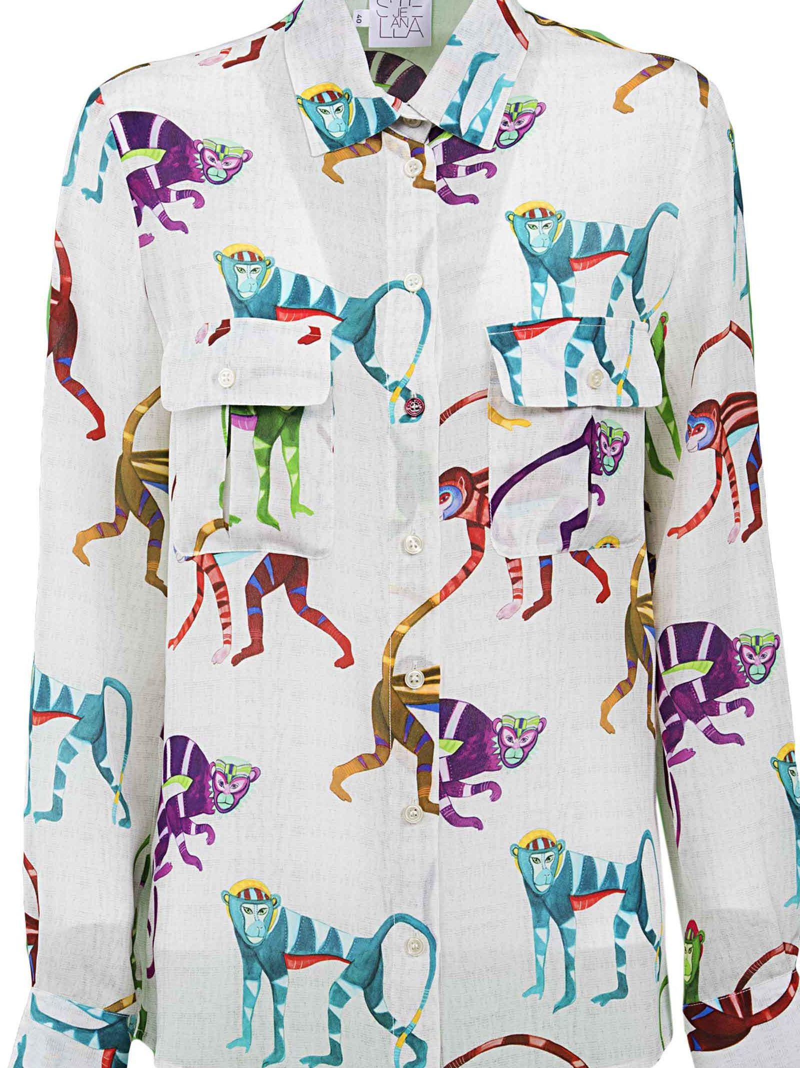Stella Jean Monkeys Silk Crepe De Chine Shirt 10515714