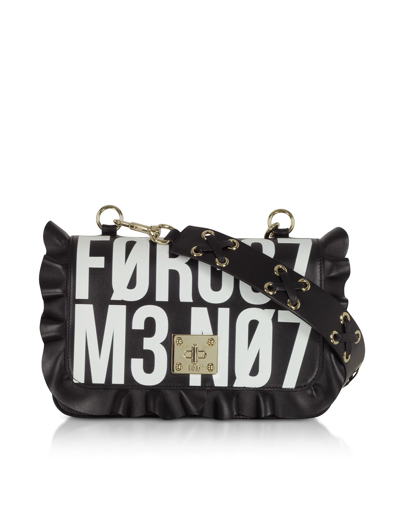 Red Valentino Rock Ruffle Signs Shoulder Bag, Black / White