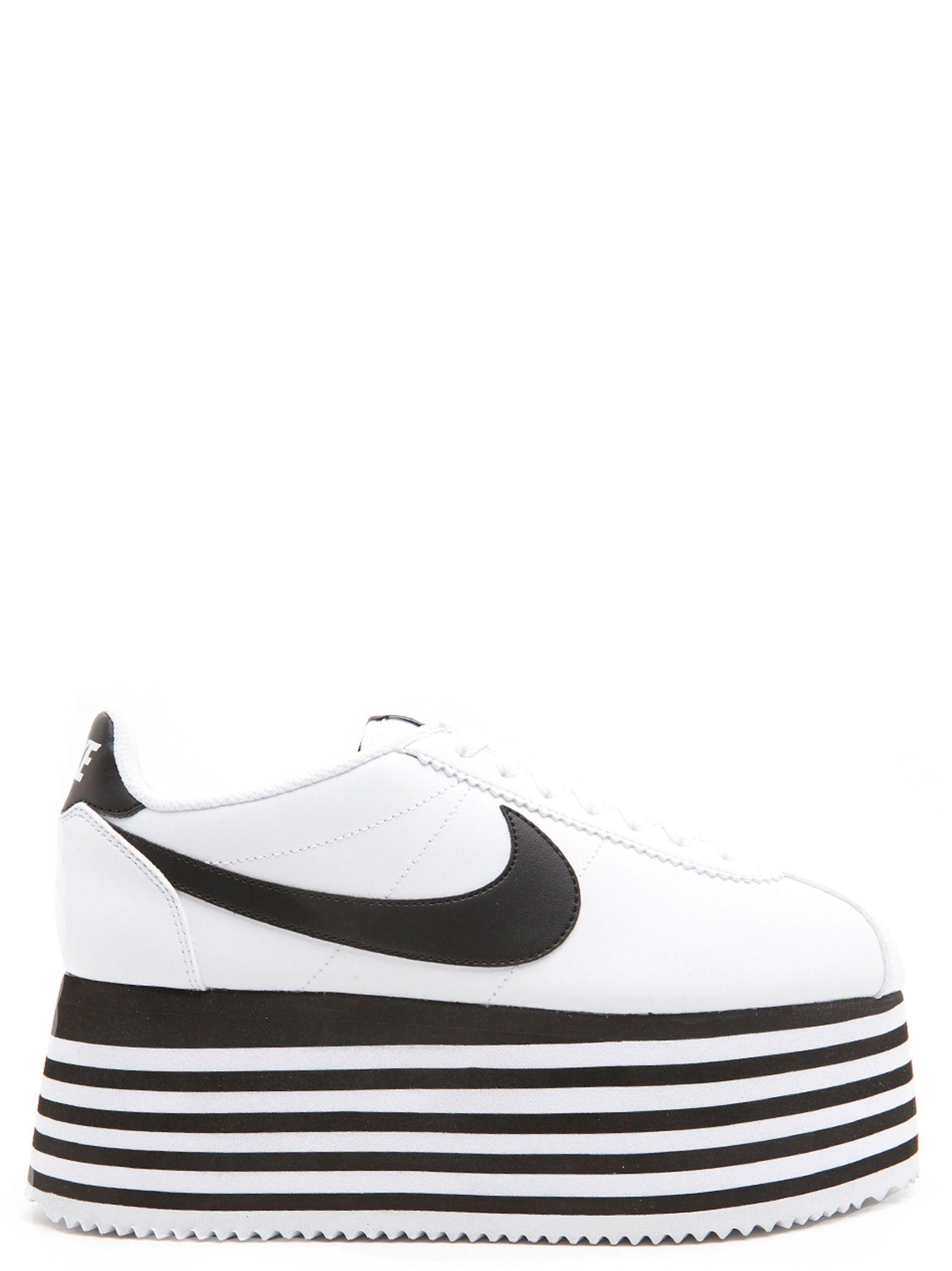 Comme Des Garçons X Nike Cortez Striped Wedge Platform Sneakers in White