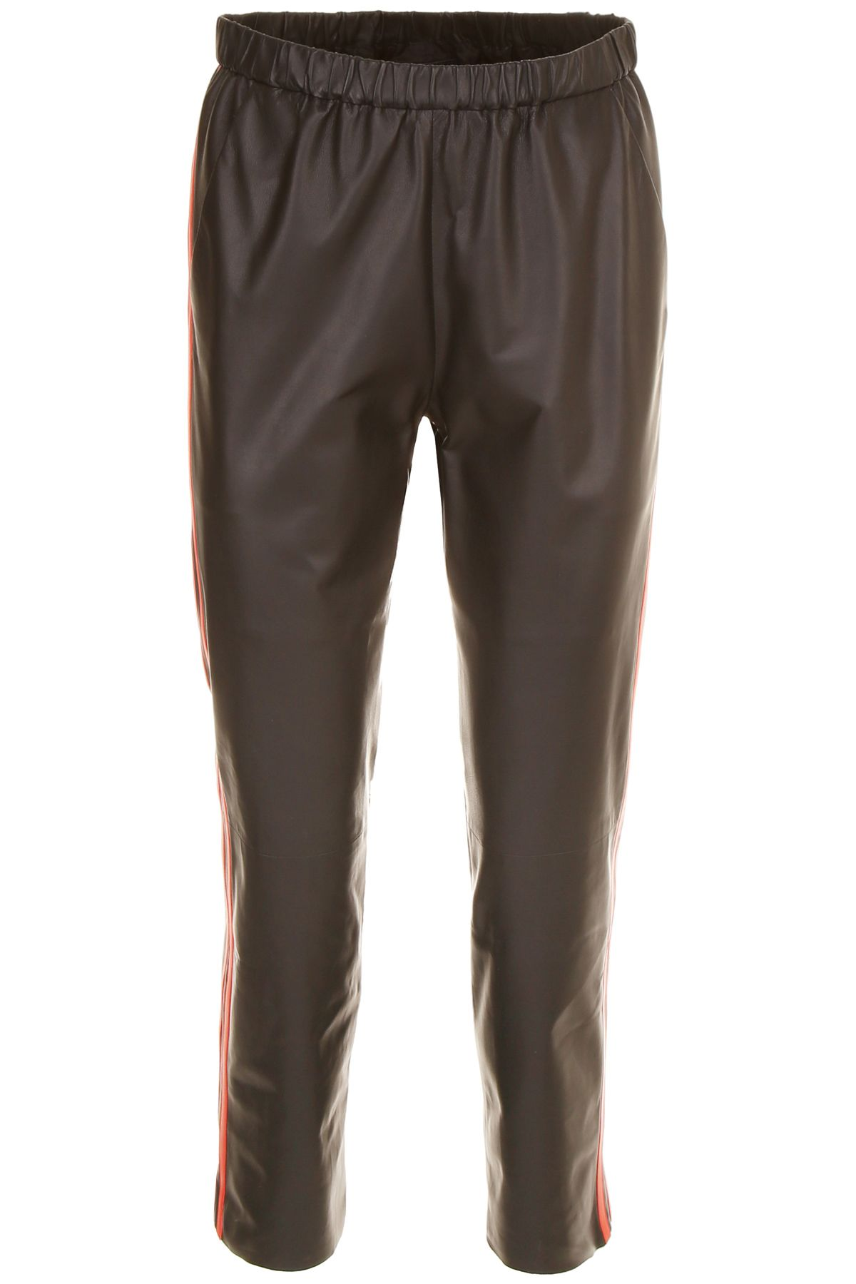 Drome LEATHER TROUSERS WITH SIDE BAND