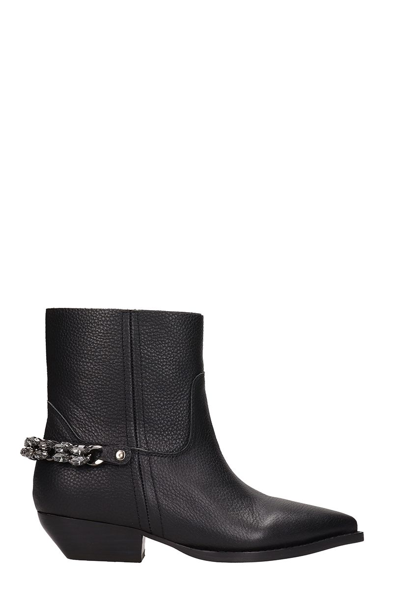 Black Leather Texan Ankle Boots