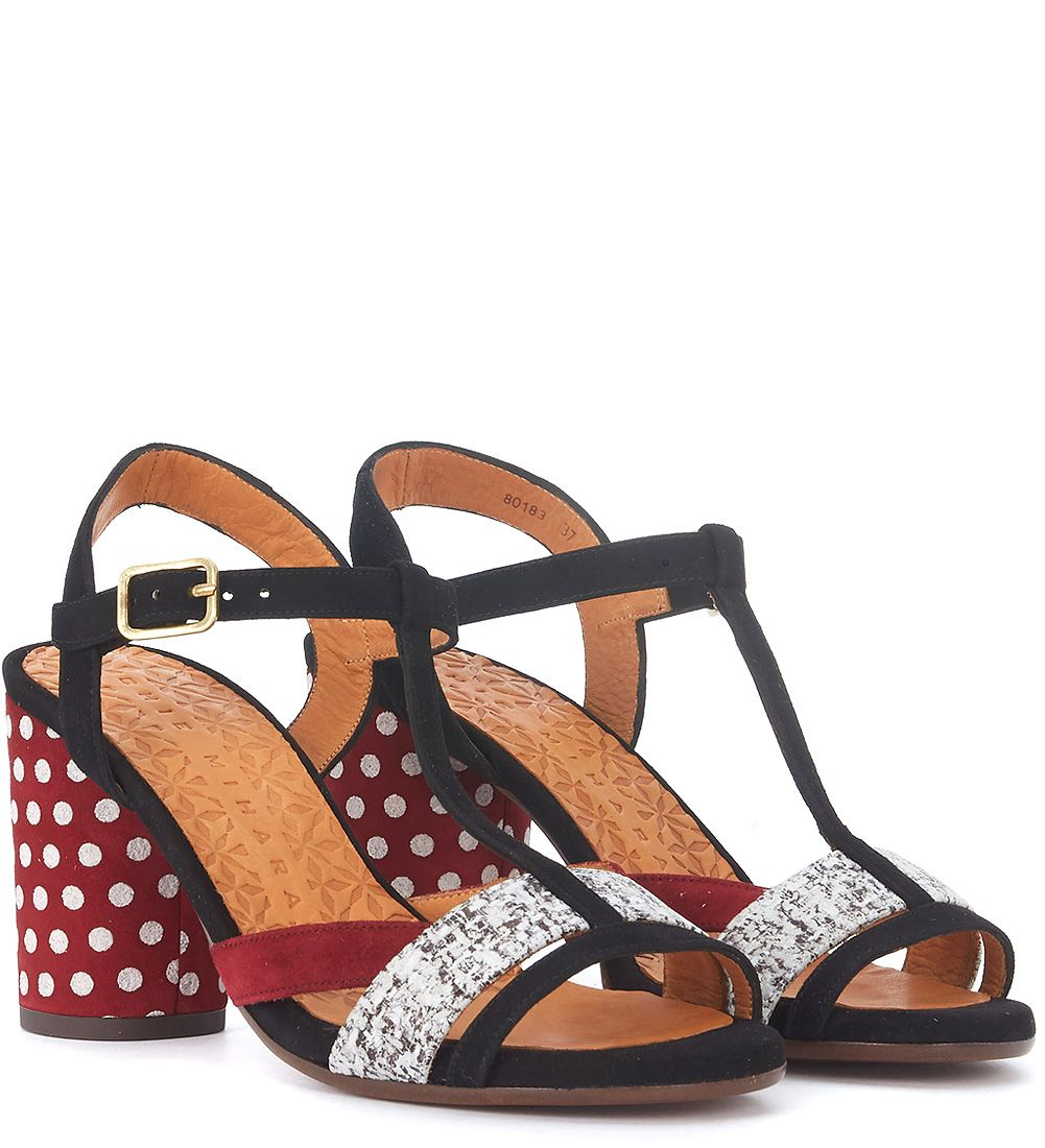 Sale Ebay Classic Online Chie Mihara Ujo and red polka dots suede heeled sandal women's Sandals in Free Shipping Latest Pch1pUc0