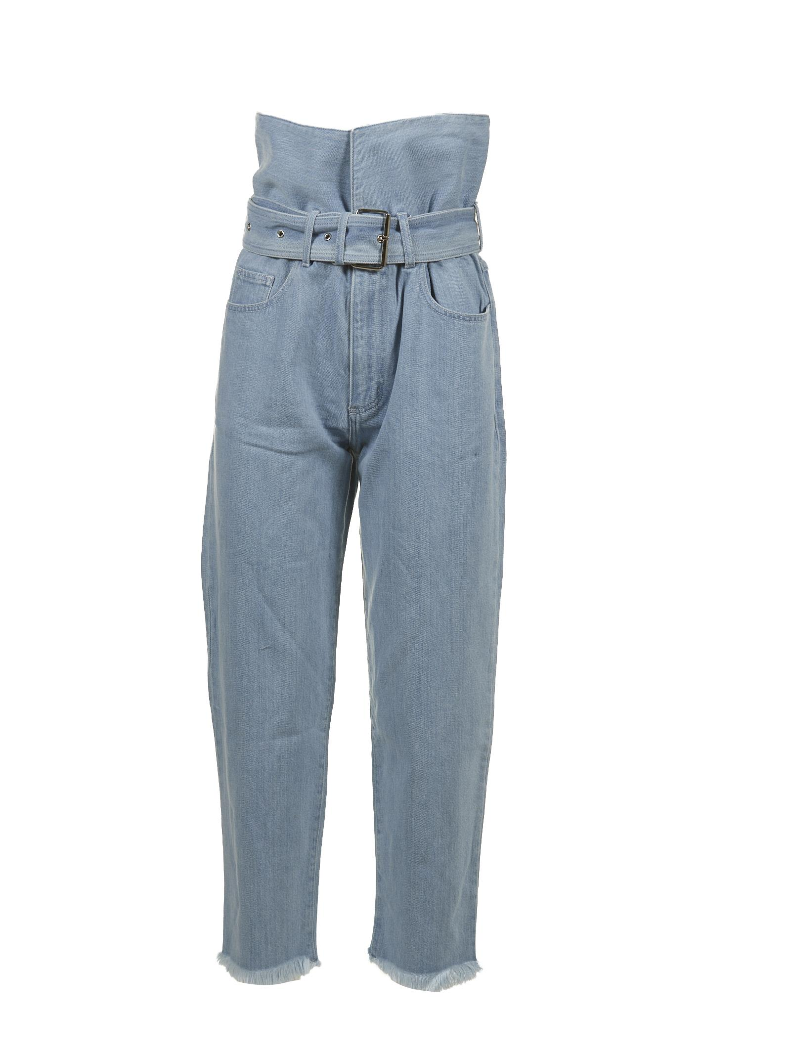 Marques Almeida Belted Raw Hem Jeans