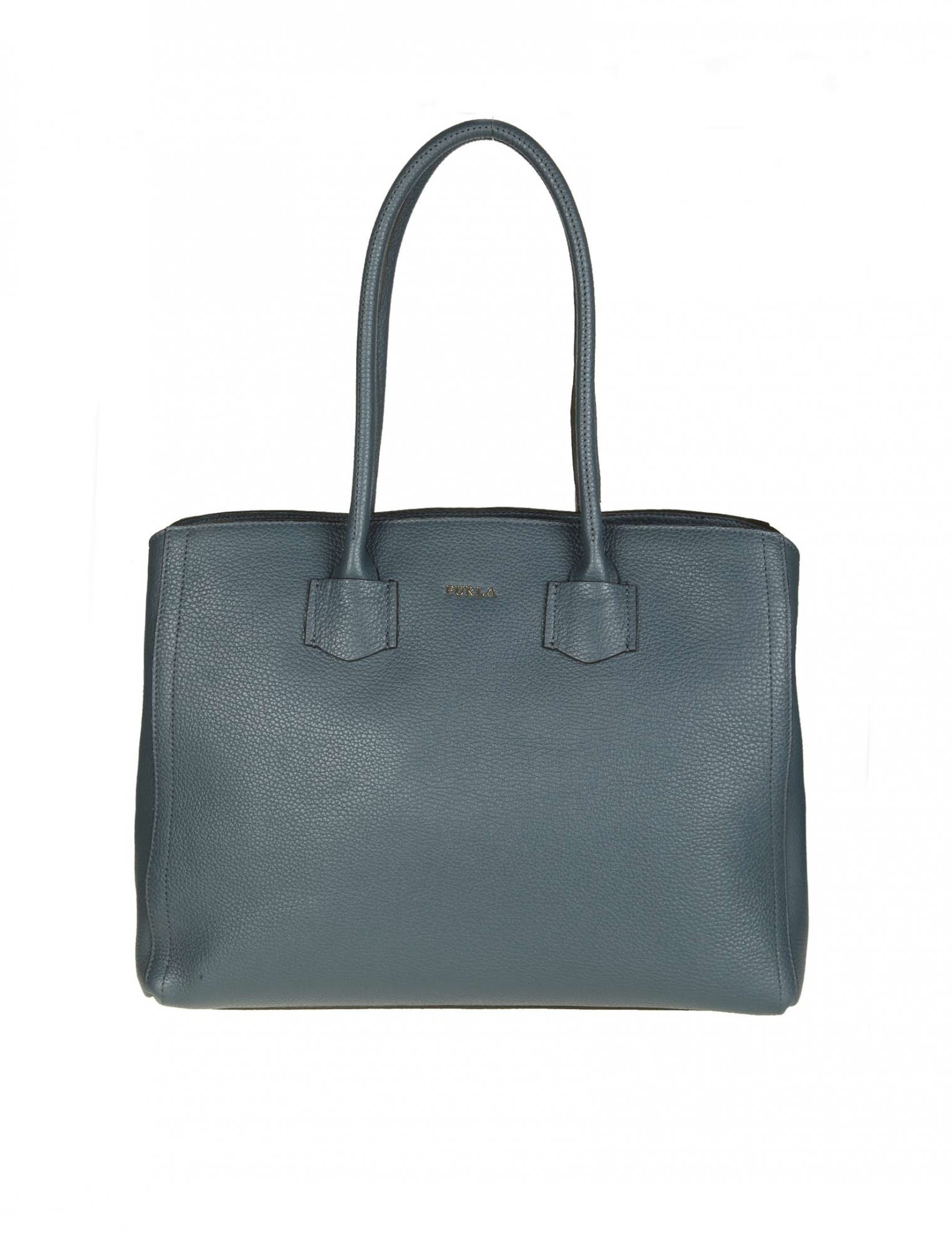 "Furla Bags SHOPPING ""ALBA L"" IN BLUE LEATHER"