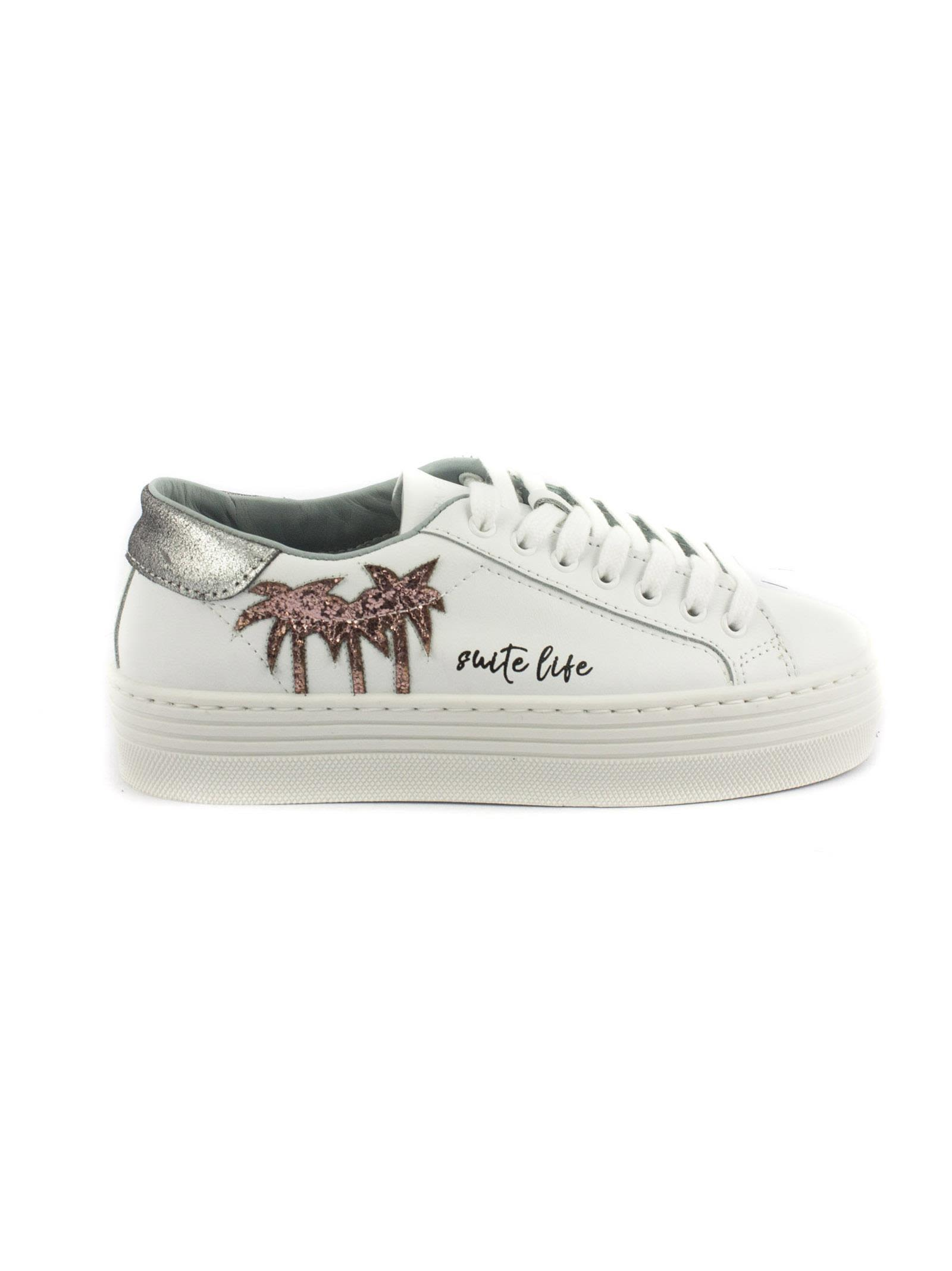 Chiara Ferragni White Leather Laced Sneakers With Pink Palms Shop Offer Sale Online Cheap Sale Low Shipping Fee Buy Cheap Shop Free Shipping Shopping Online Newest Online 4T6ae