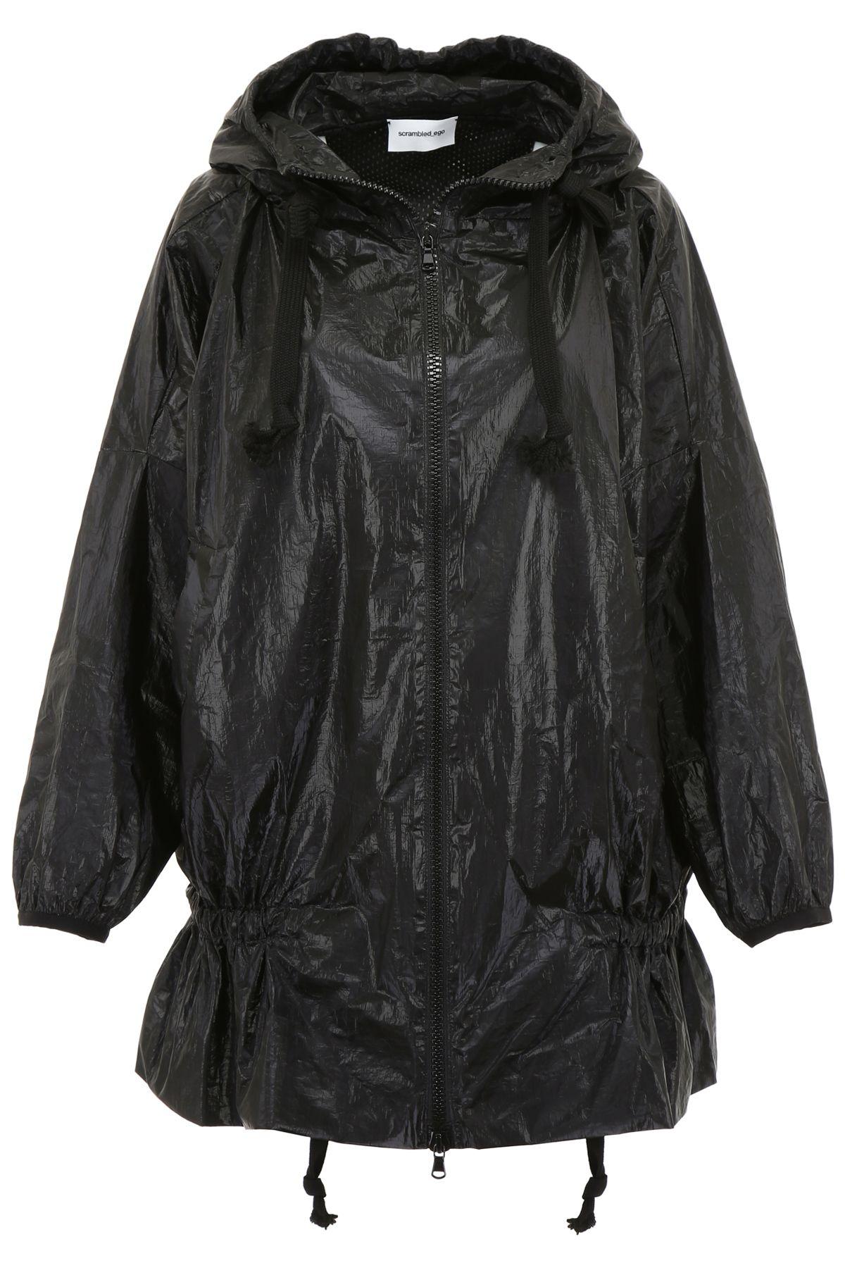 SCRAMBLED EGO Oversized Raincoat in Black