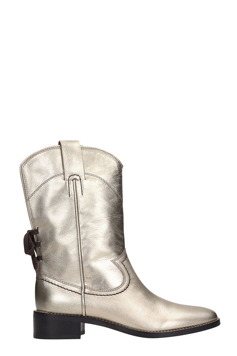 LAMINATED SILVER CALF LEATHER ANKLE BOOTS