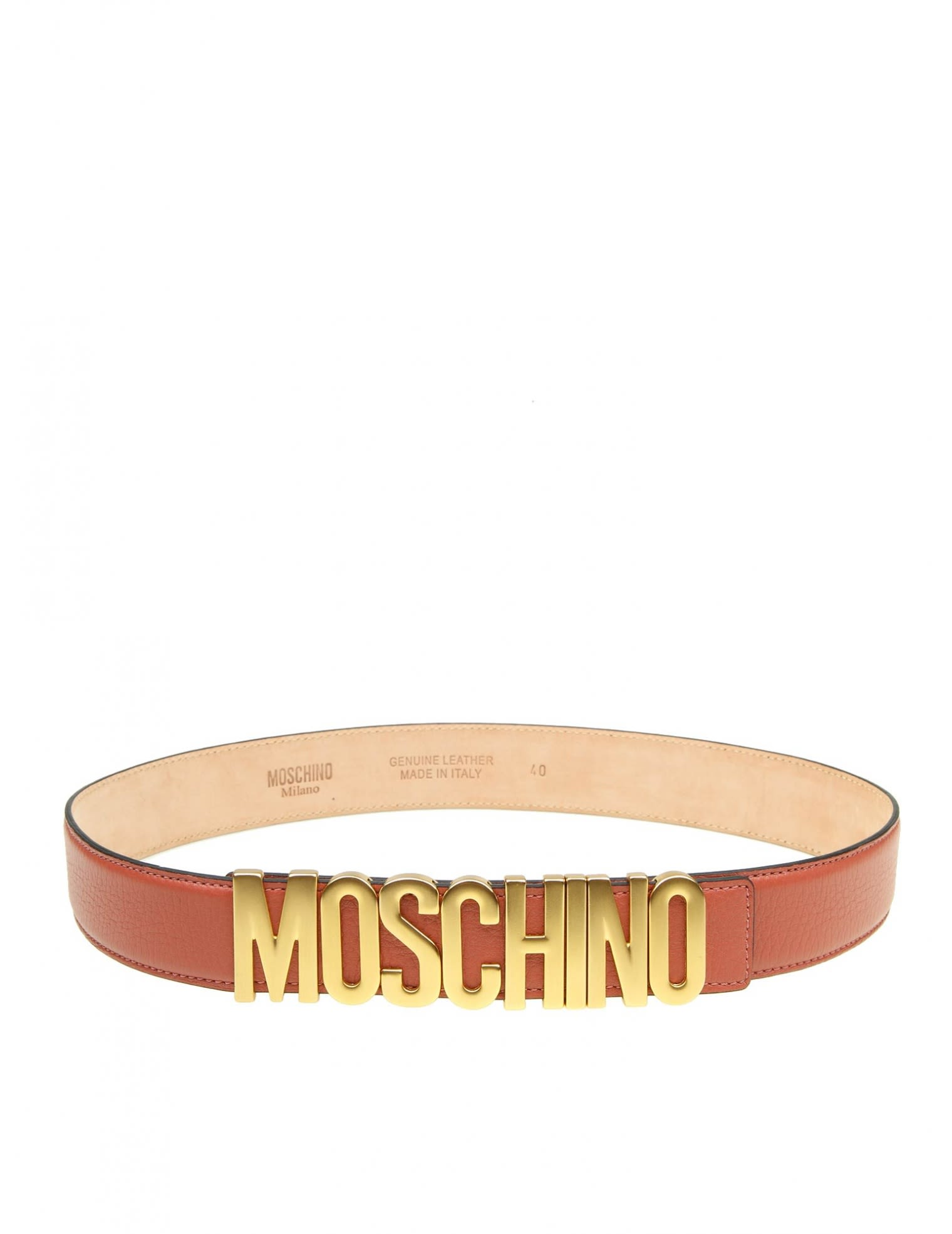 BELT IN ROSE LEATHER WITH LOGO