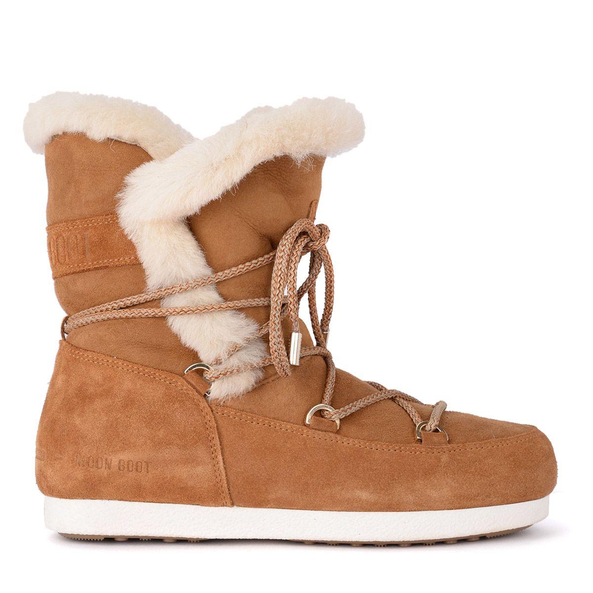 MOON BOOT Far Side Honey Shearling Boots in Marrone