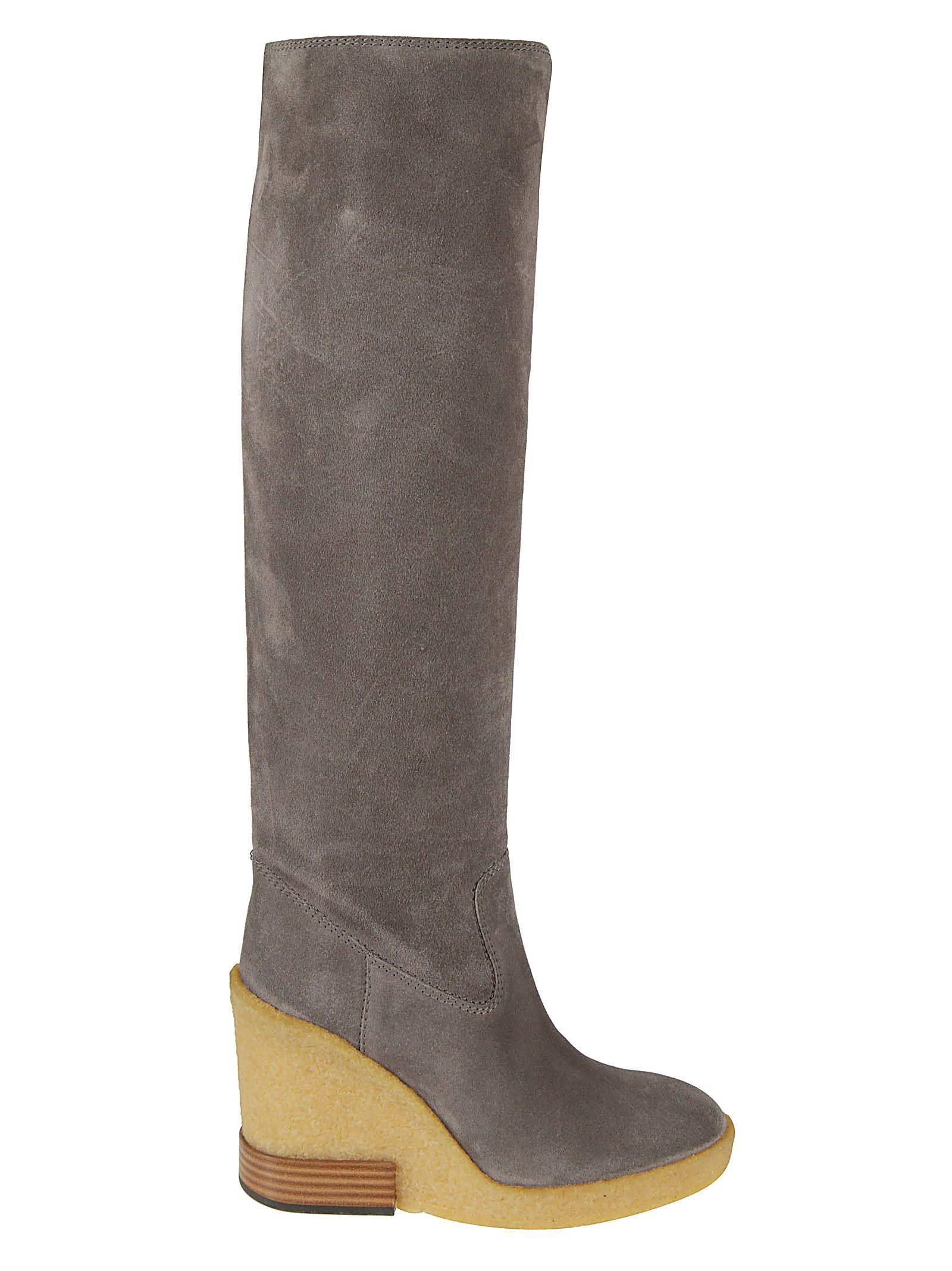 Wedge Heel Boots in Grey