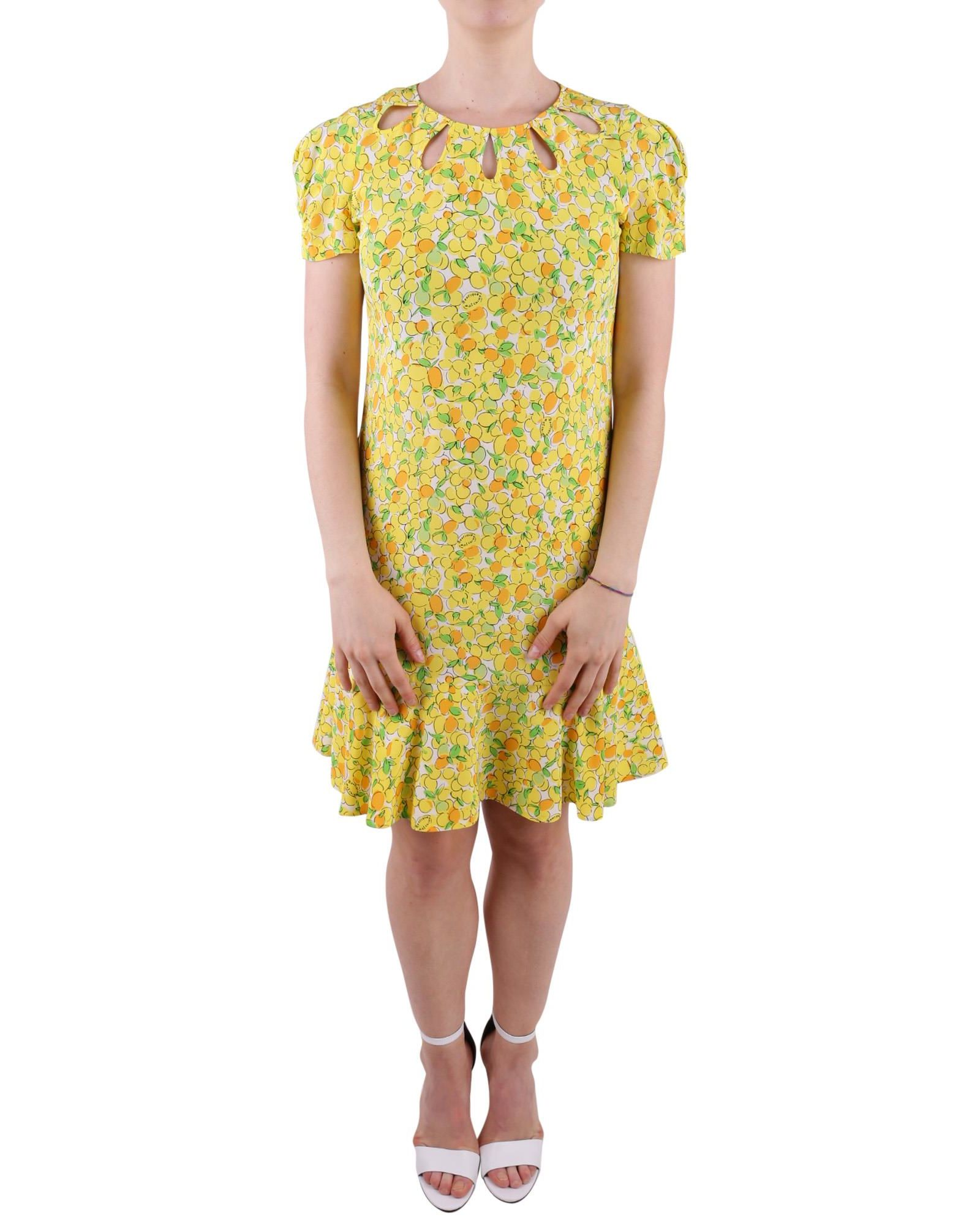 BOUTIQUE MOSCHINO LEMON PRINT SILK DRESS