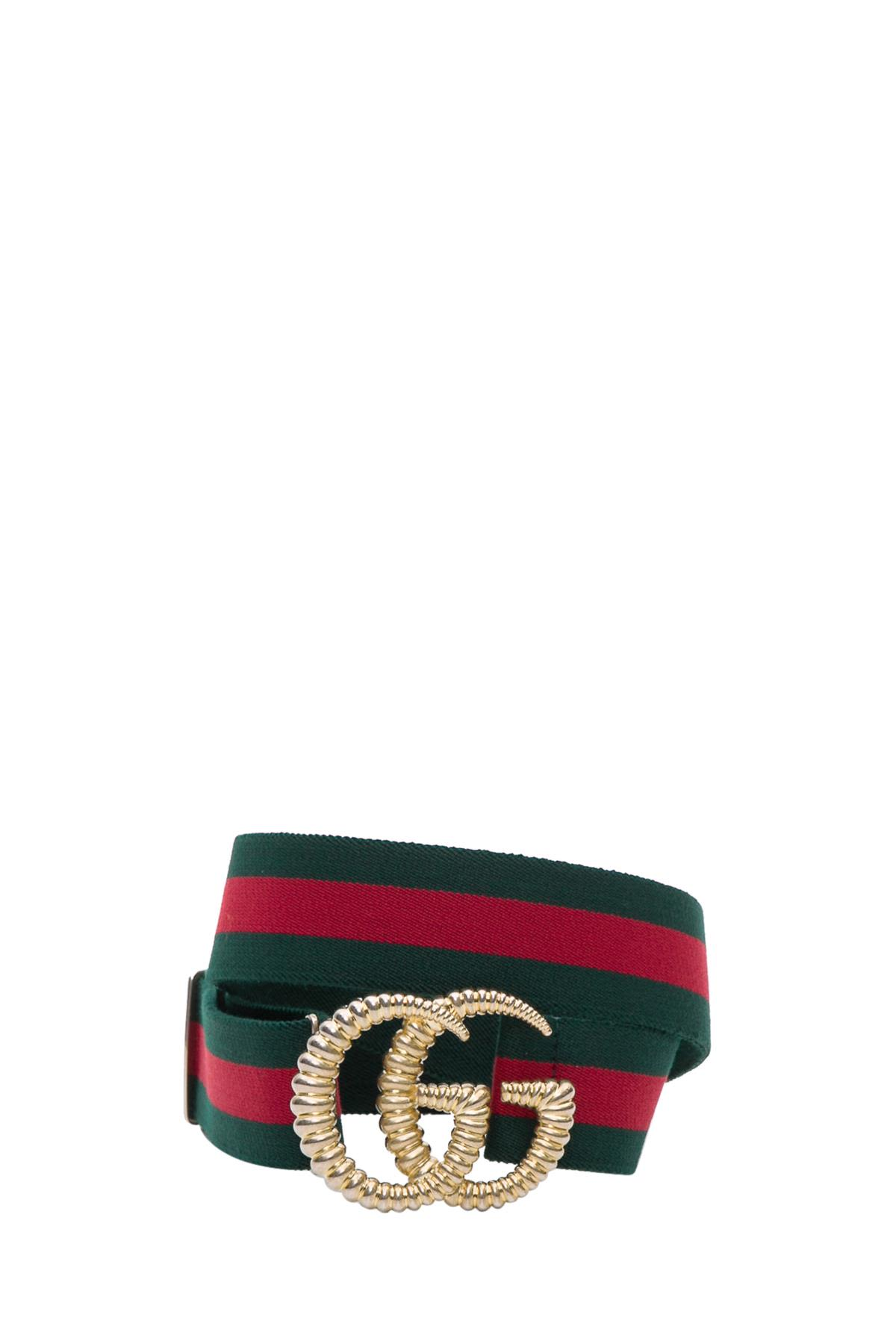 Web Elastic Belt With Torchon Double G Buckle, Verde/Rosso