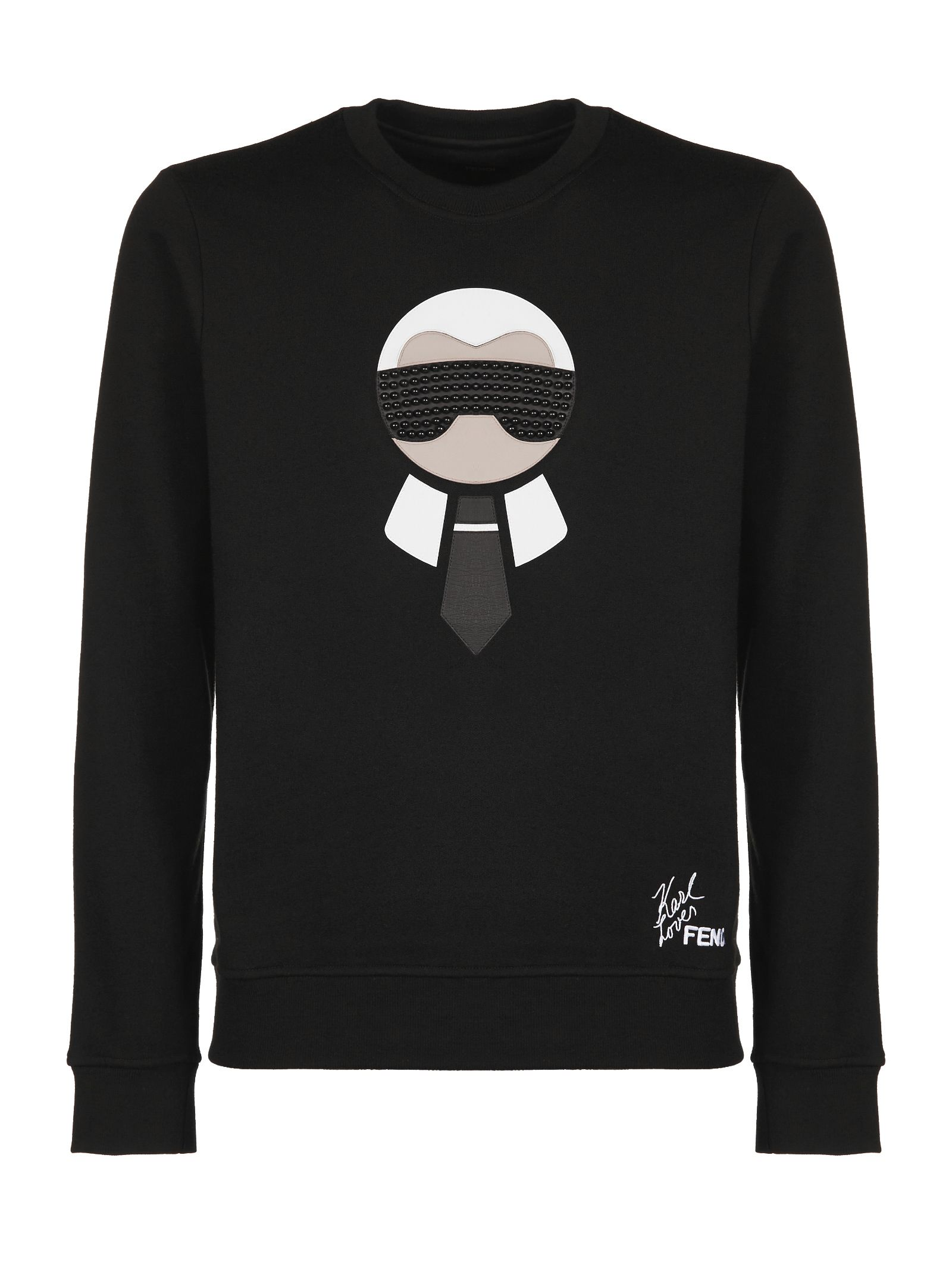 en Logo negro sudadera Wool Karlito Blend Fendi Appliqué 0Ywnq5xnO