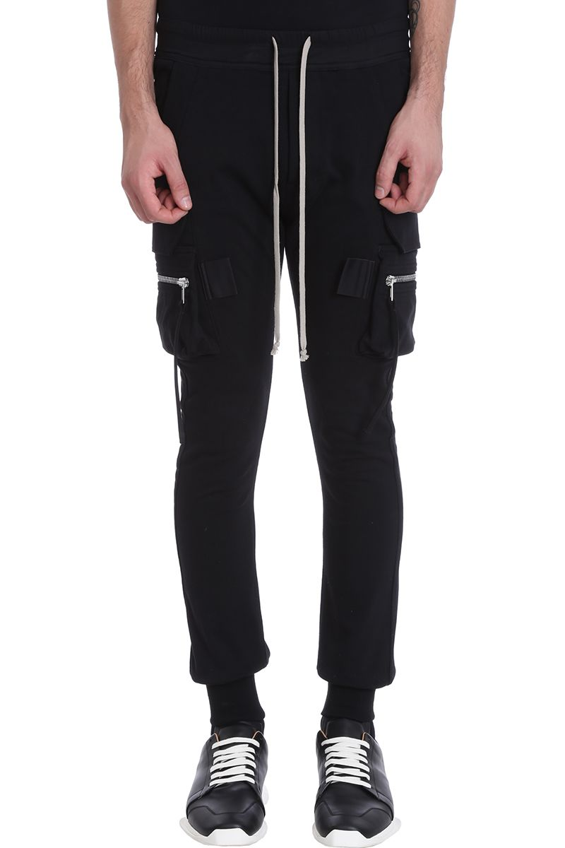Rick Owens Cargo Jog Black Cotton Pants