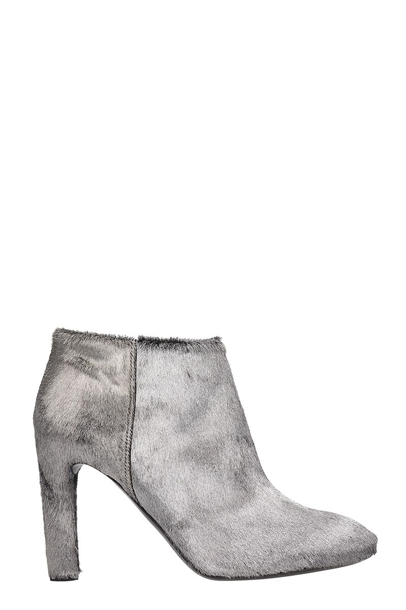 Roberto del Carlo Silver Pony Hair Ankle Boots