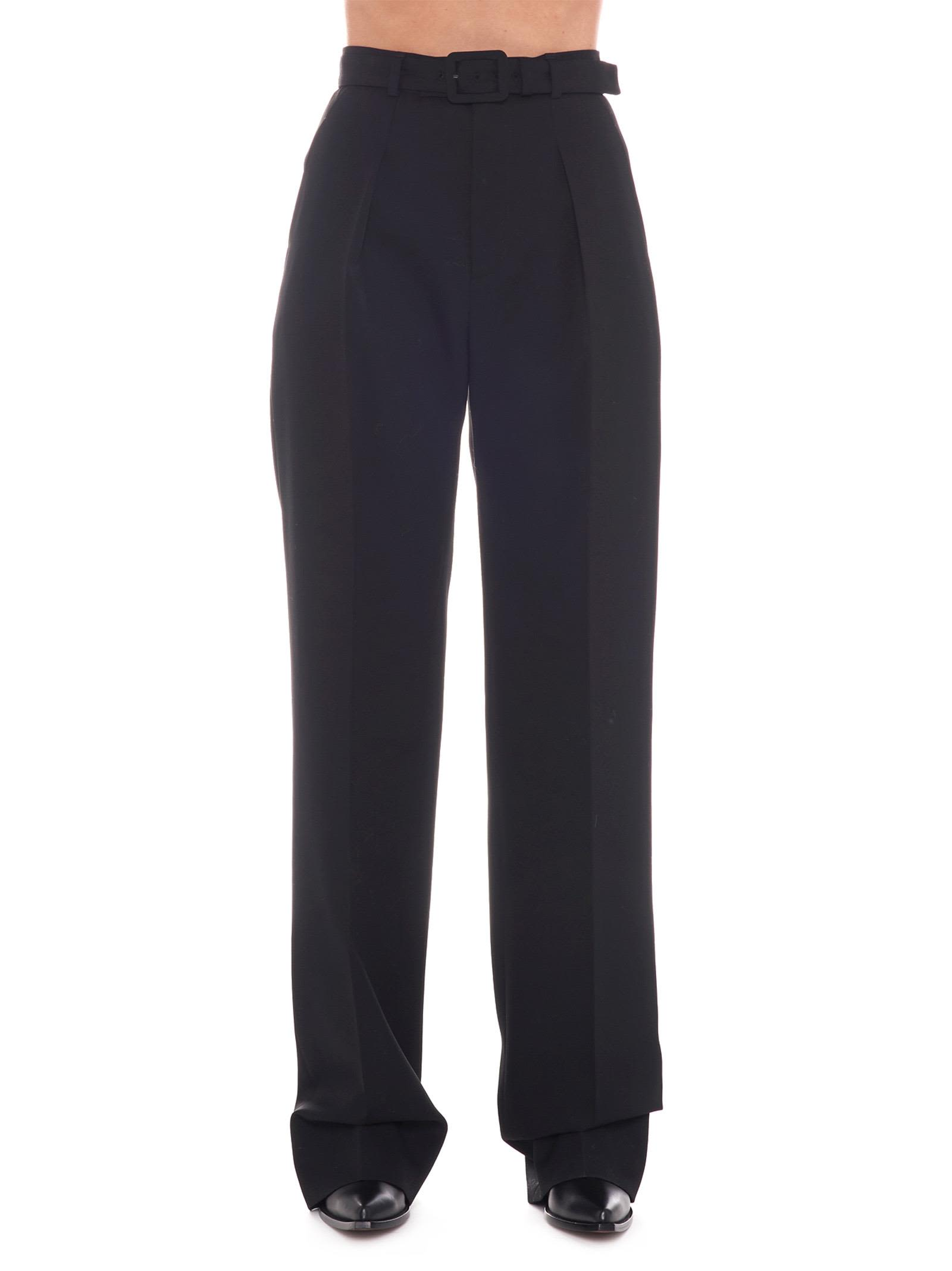 Givenchy Belted Wool-Crepe Straight-Leg Pants In Black