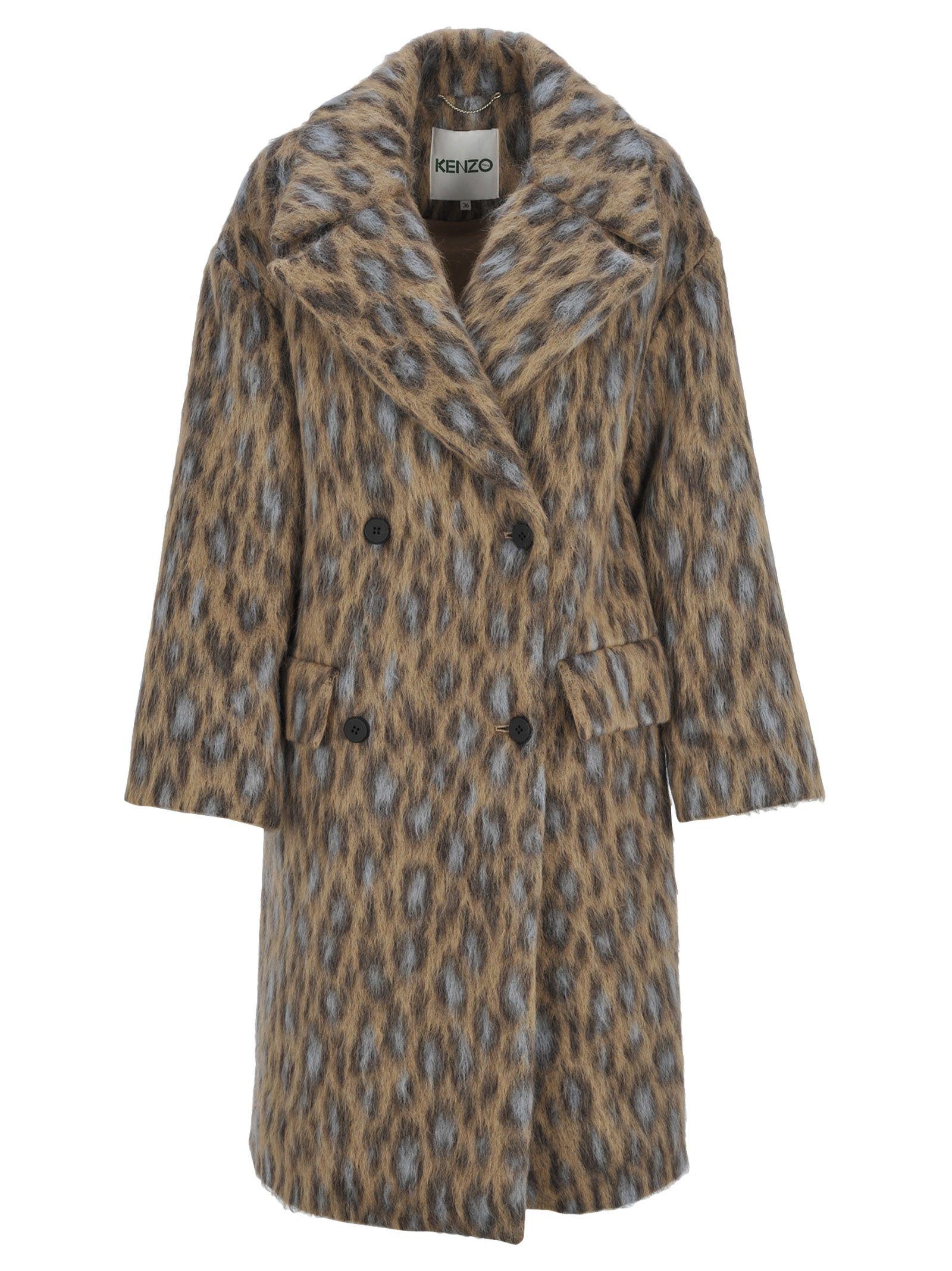 Leopard-Print Felt Coat, Beige