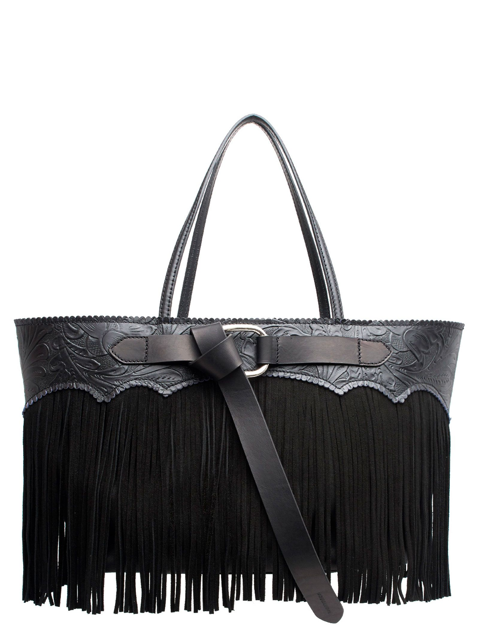 Leather Bag With Suede Fringes in Black