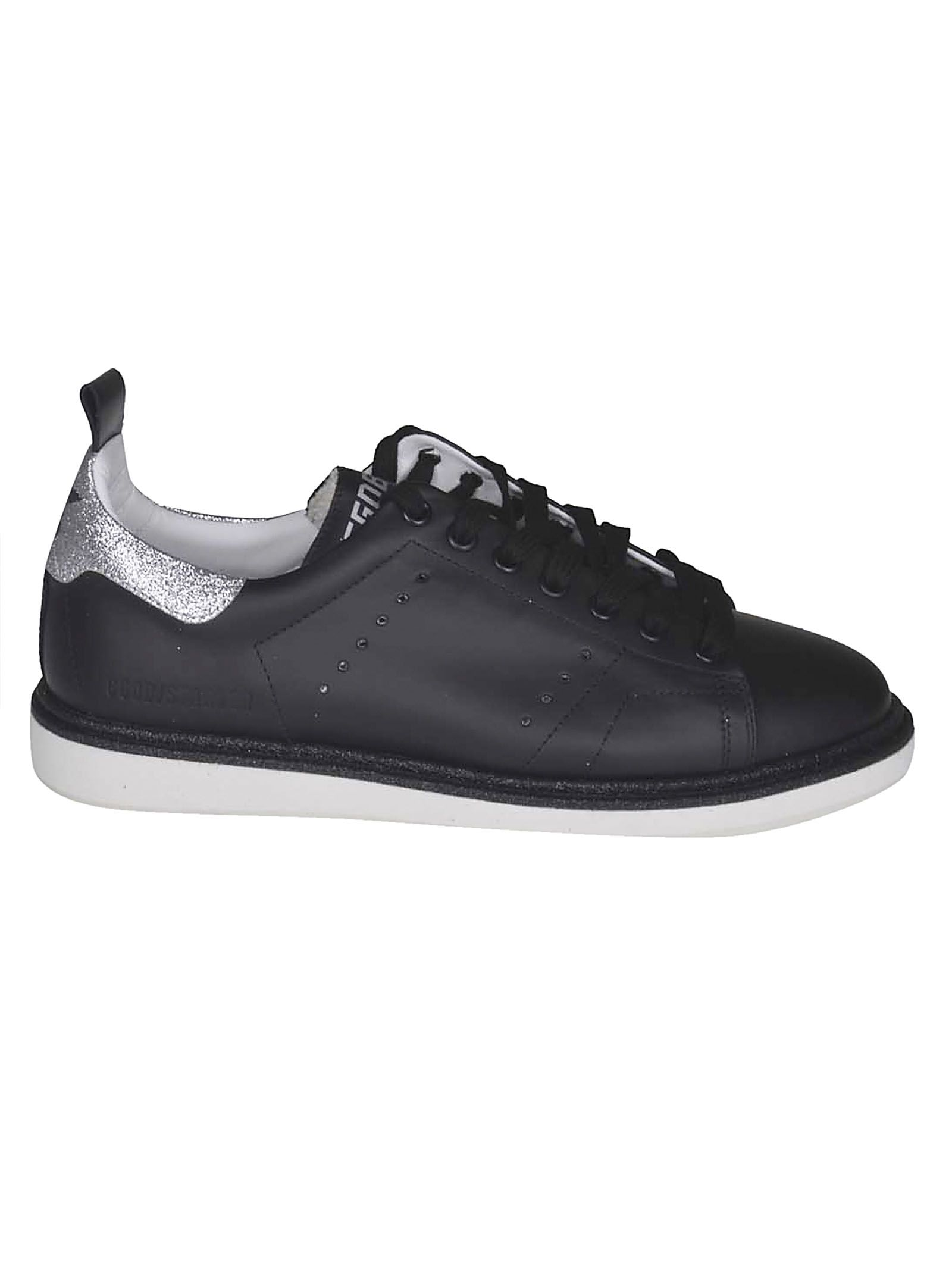 Starter Sneakers, Black Leather Silver Glitter