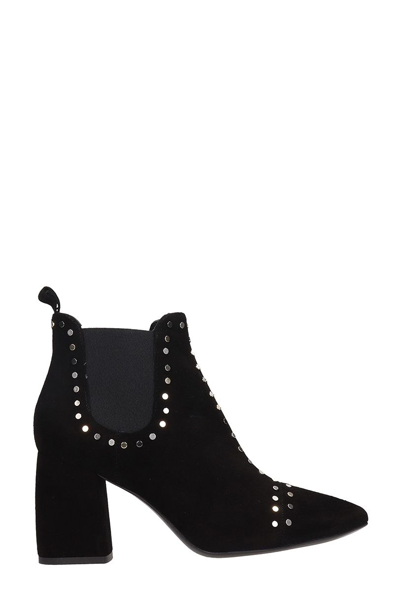 JANET&JANET Black Suede Leather Ankle Boots