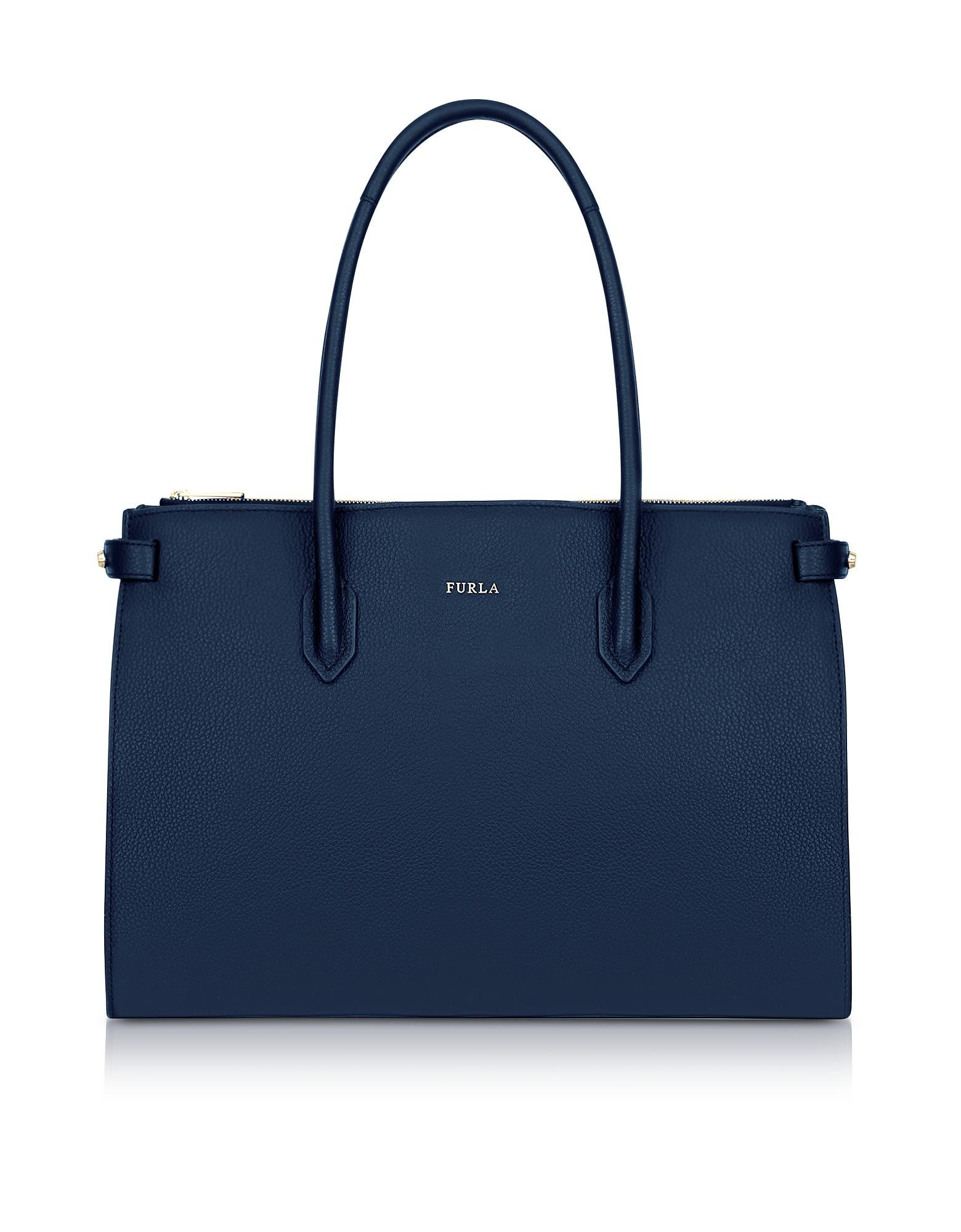 Furla Leathers BLUE LEATHER PIN MEDIUM E-W TOTE BAG