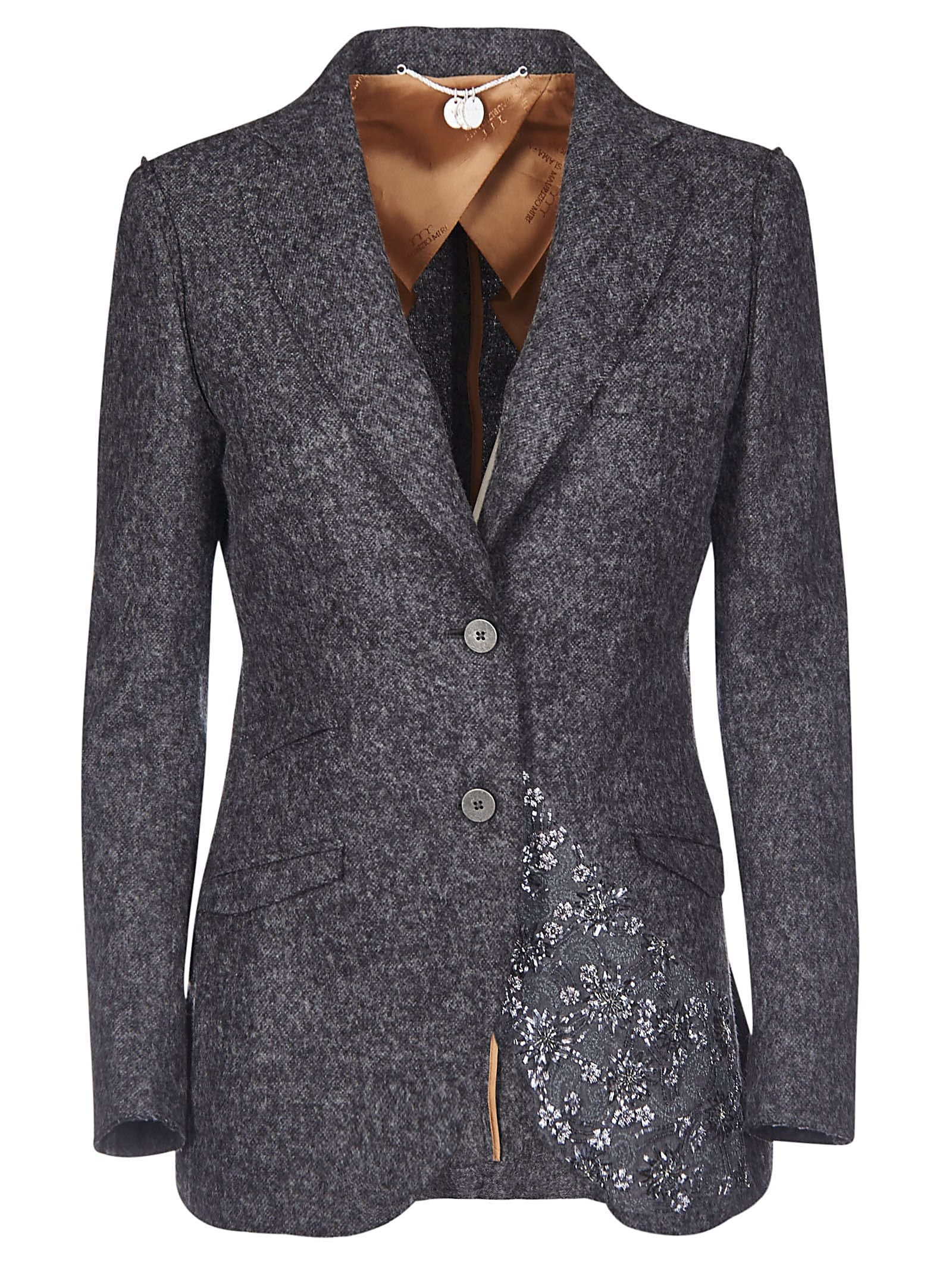 Floral-Detailed Blazer, Grigio