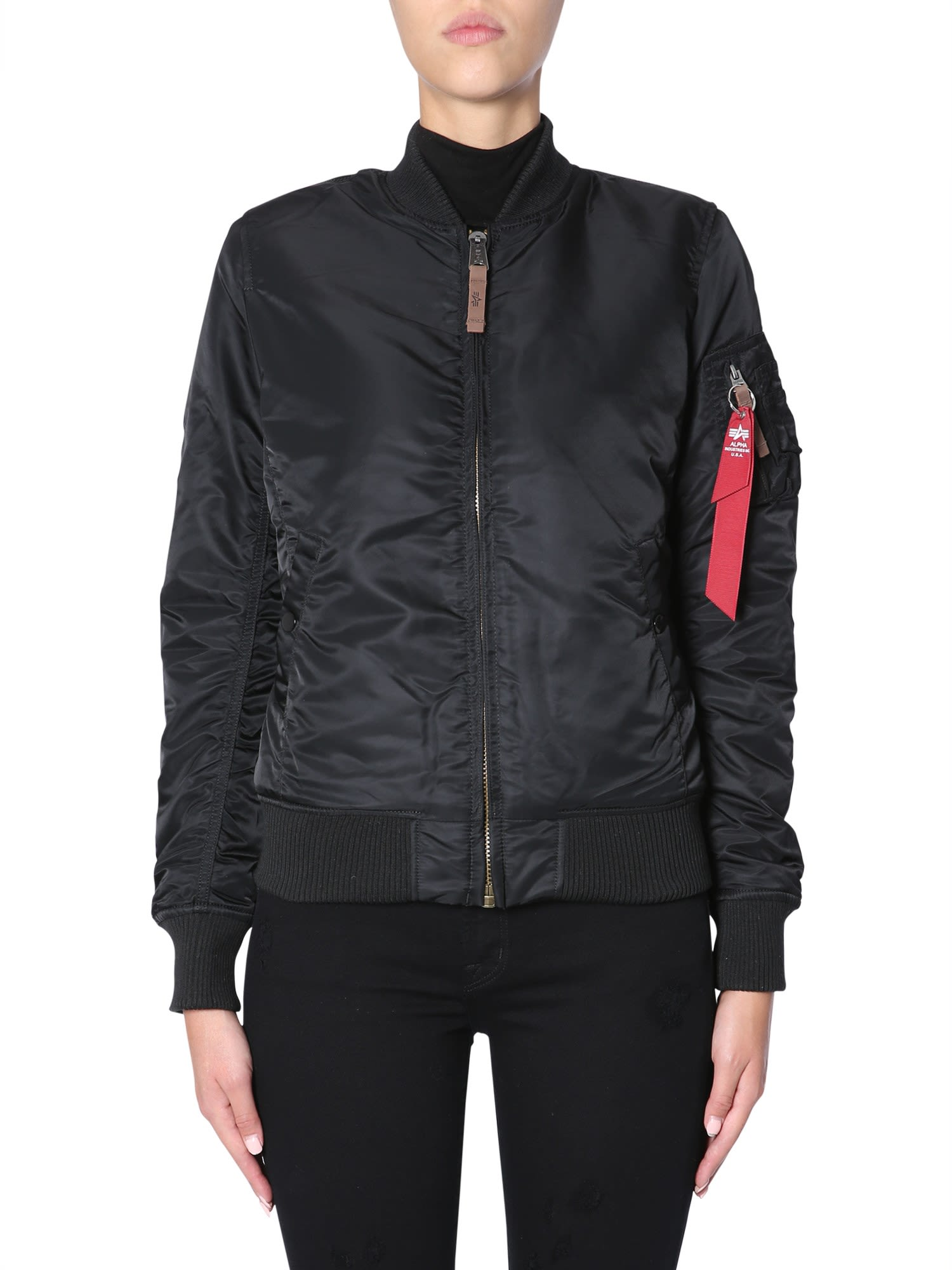 Ma-1 Reversible Shell Bomber Jacket, Nero
