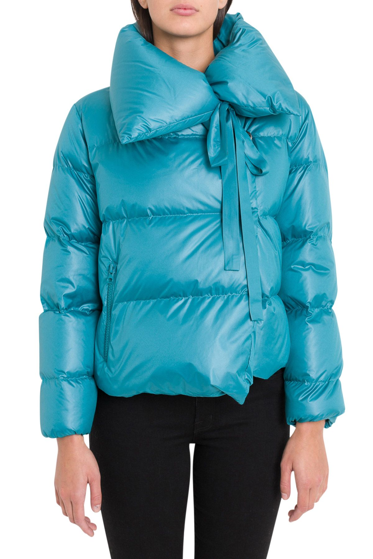 BACON CLOTHING Down Jacket With Wide Neck in Azzurro