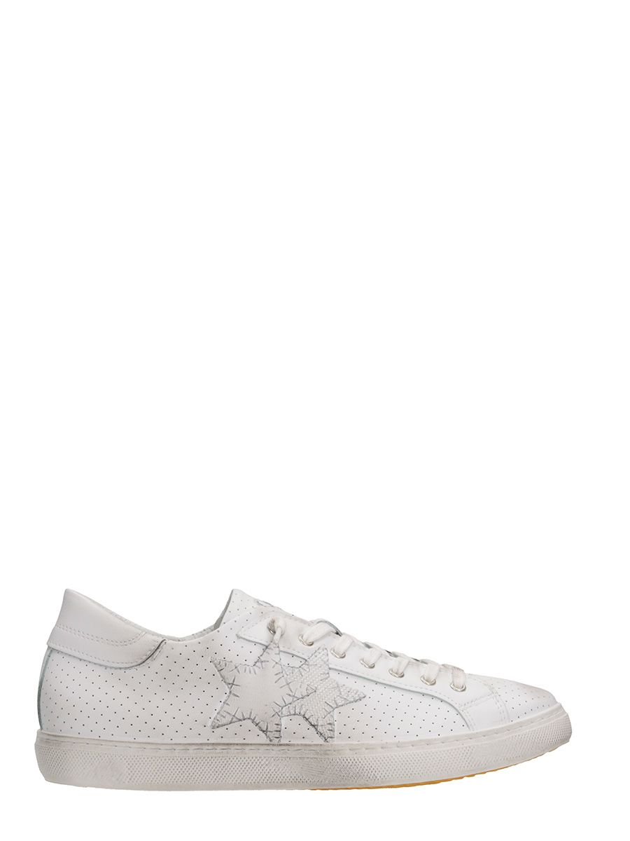 2star male 2star white leather sneakers
