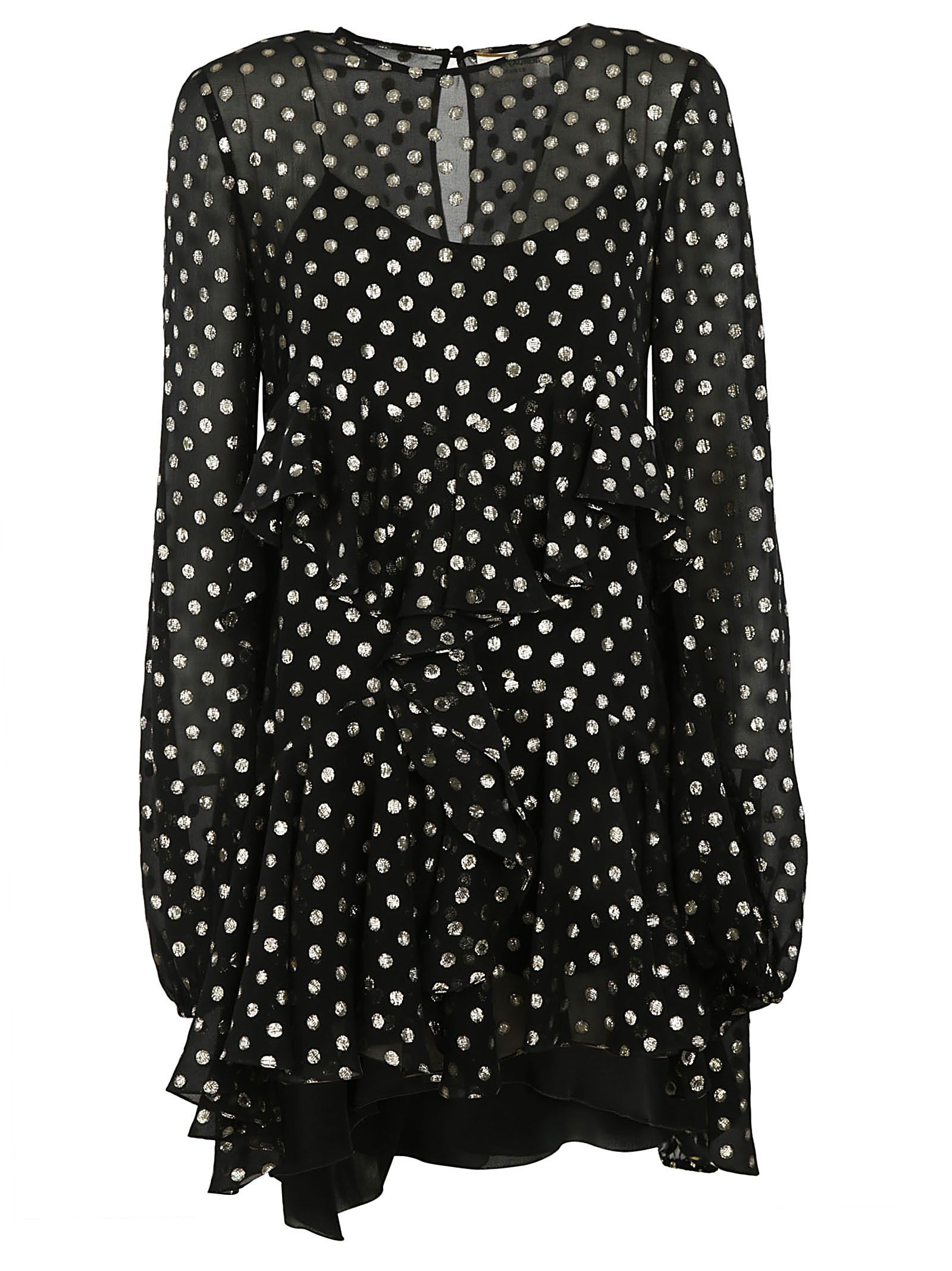 metallic polka dot dress - Black Saint Laurent xee9Sohg